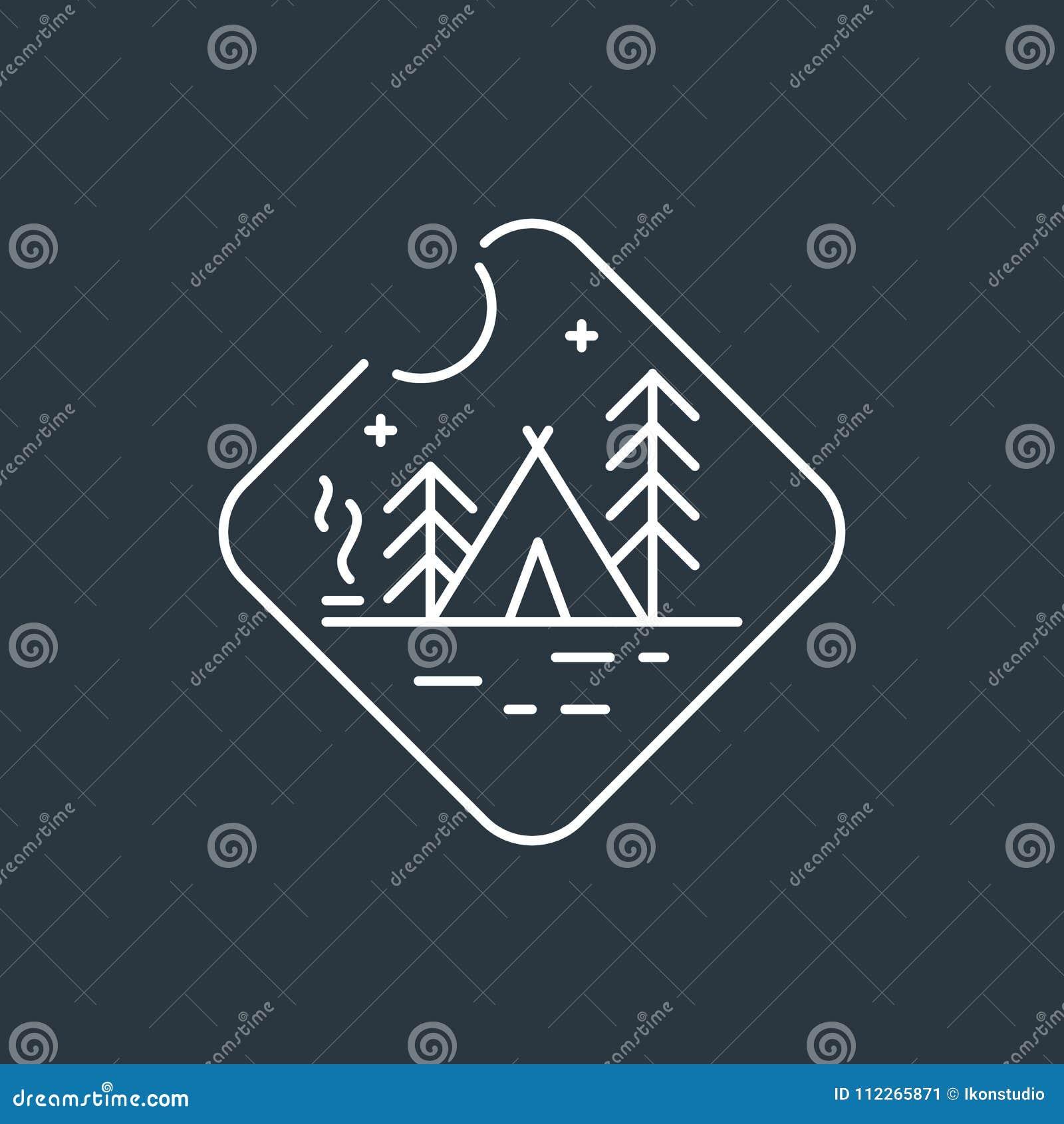 Logotipo de acampamento do crachá
