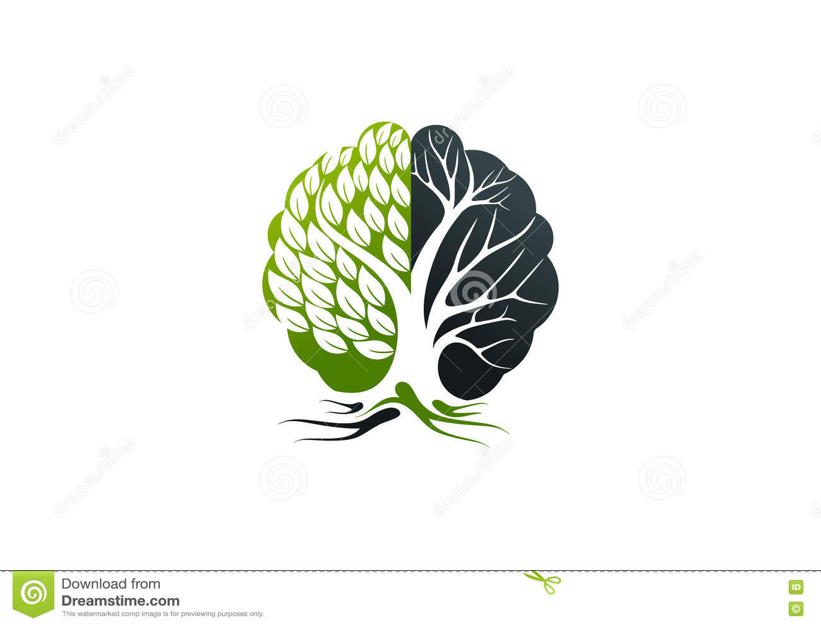 Logotipo de Alzheimer, projeto de conceito do cérebro da árvore