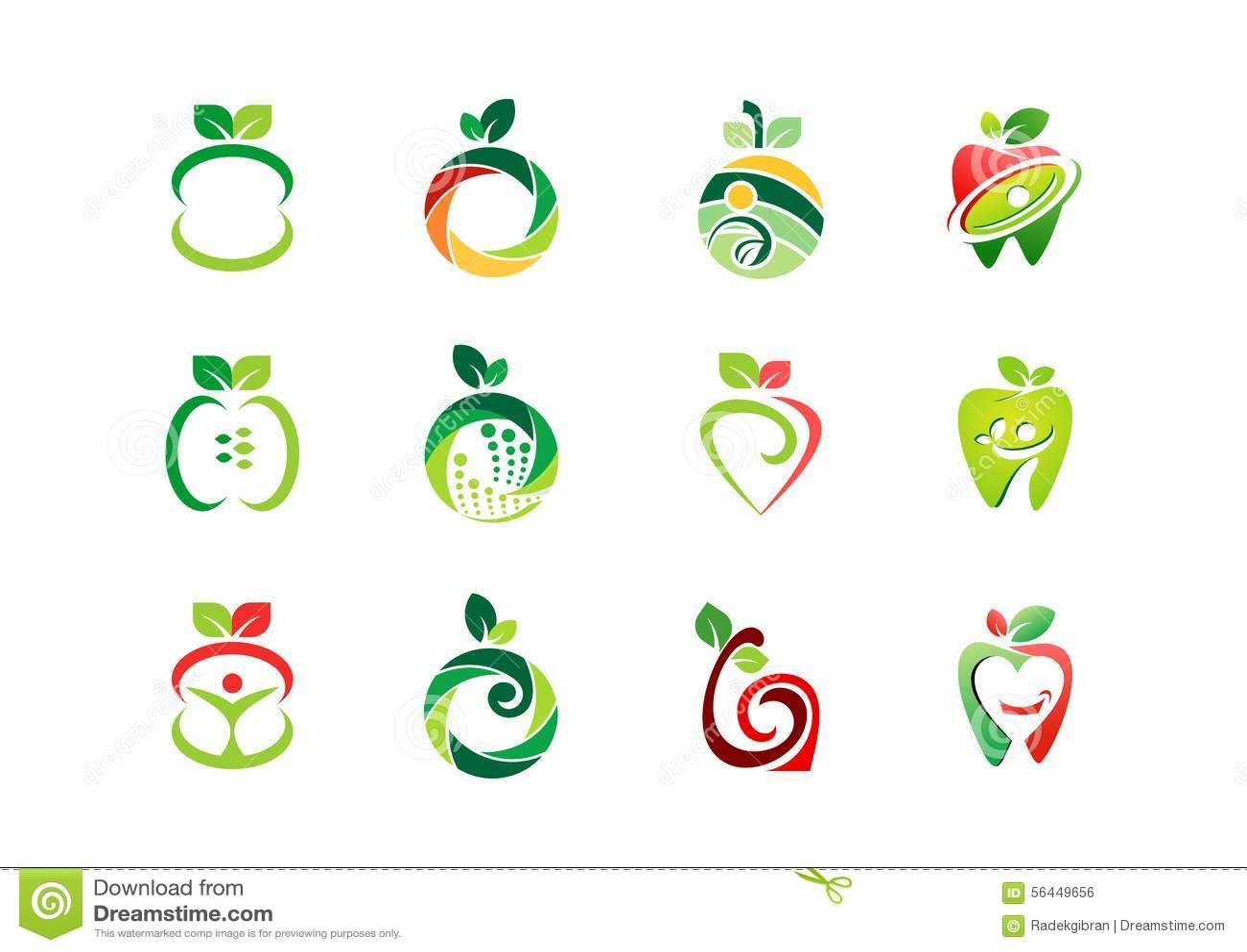 Logotipo de Apple, fruto fresco, projeto ajustado do vetor do símbolo do ícone da natureza da saúde da nutrição dos frutos