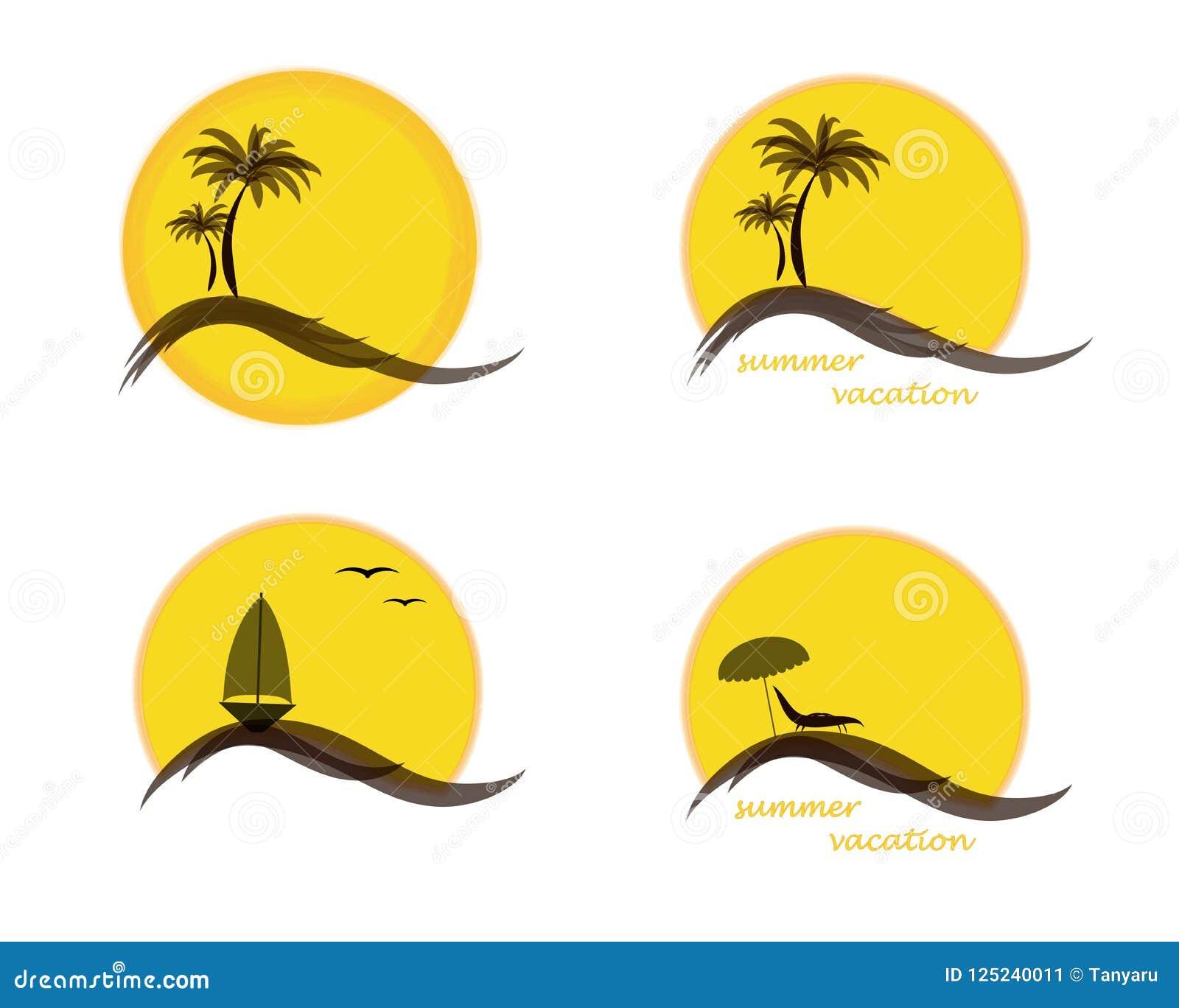 Logotipo de cuatro veranos con el sol, palmeras, océano o mar, velero y playa, ejemplo del vector aislado en blanco