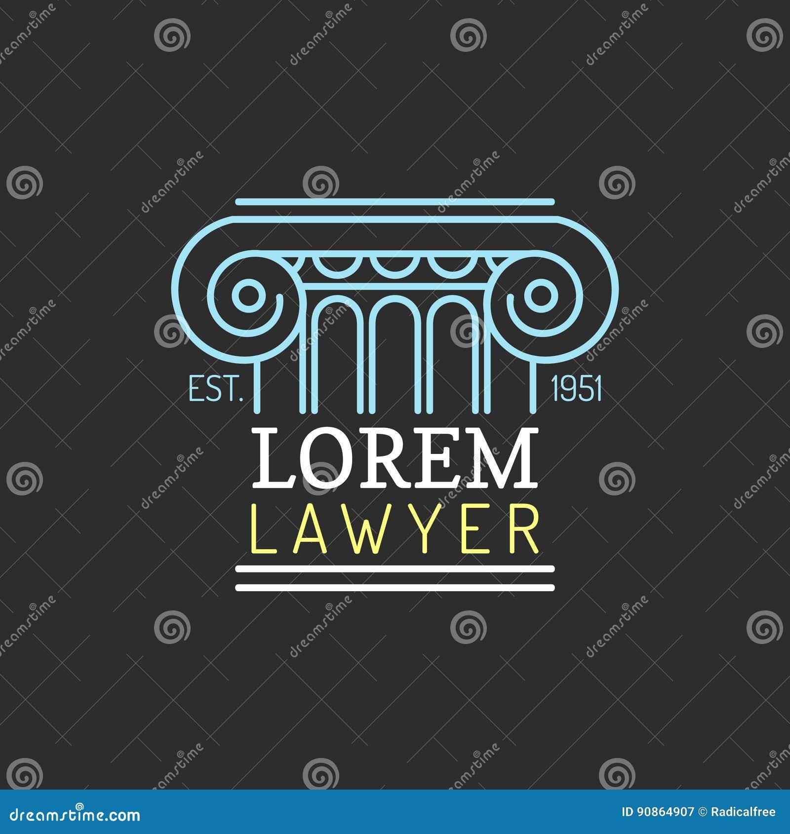 Logotipo de la asesoría jurídica Vector al abogado del vintage, etiqueta del abogado, insignia firme jurídica Acto, principio, di