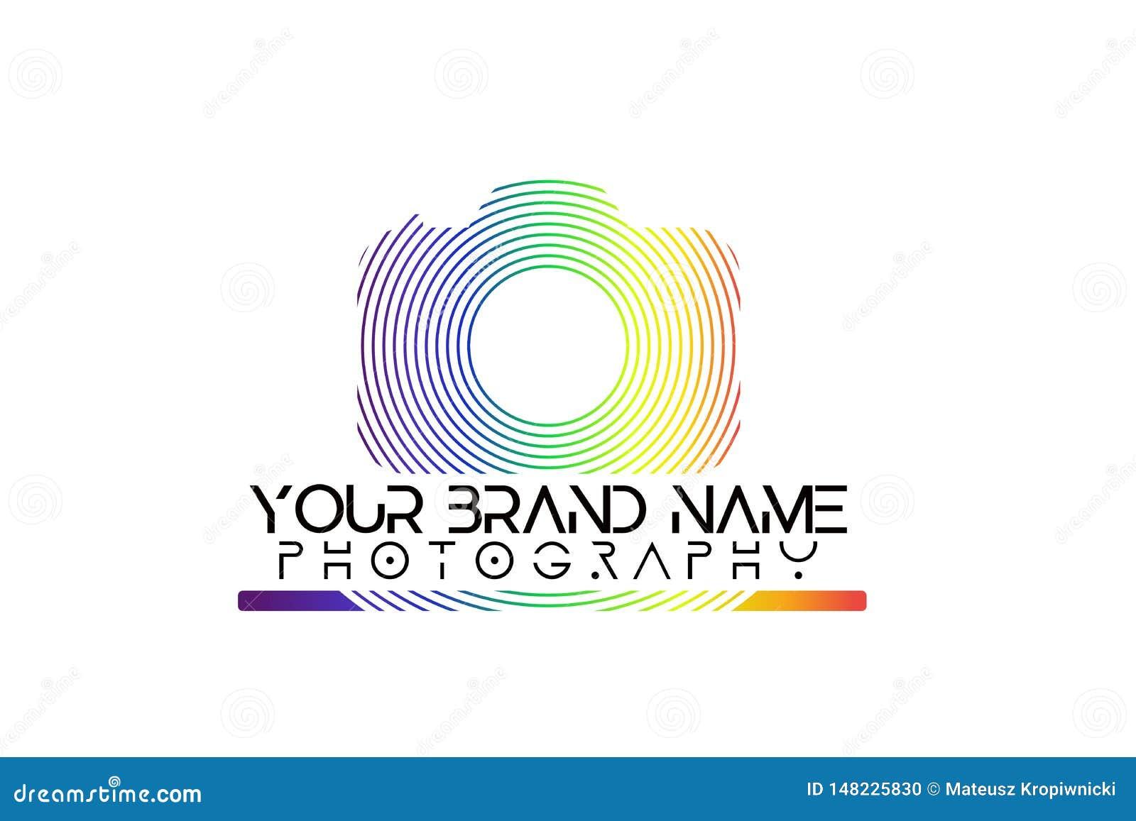 Logotipo de la cámara del arco iris en el fondo blanco