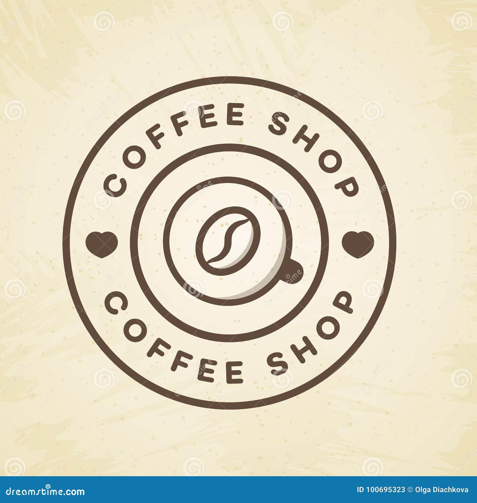 Logotipo de la cafetería con la taza de línea estilo del café y de la haba en el fondo para el café, tienda