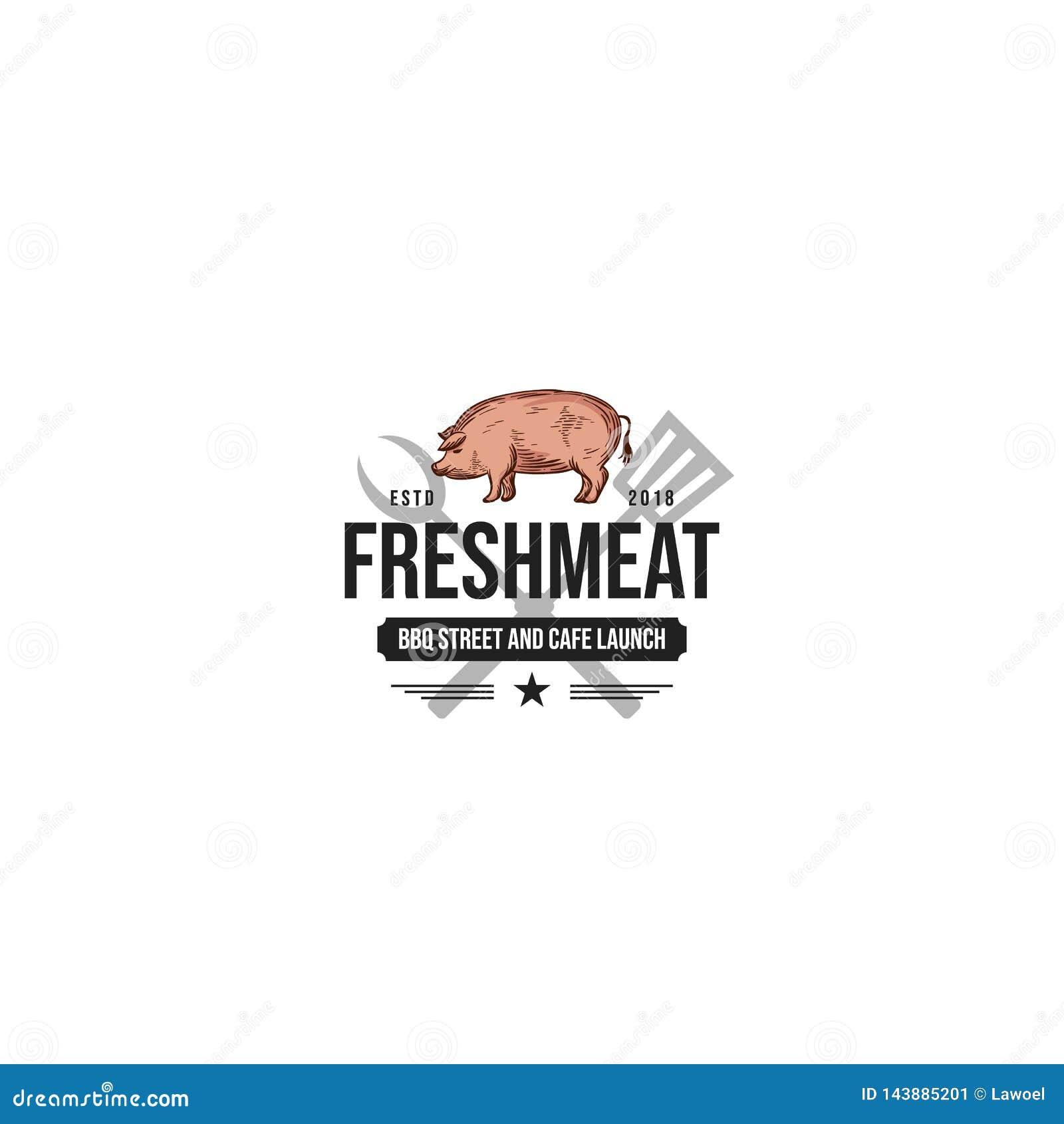 Logotipo de la carnicería del vintage emblema diseñado retro de la tienda de carne, insignia, elemento del diseño, plantilla del