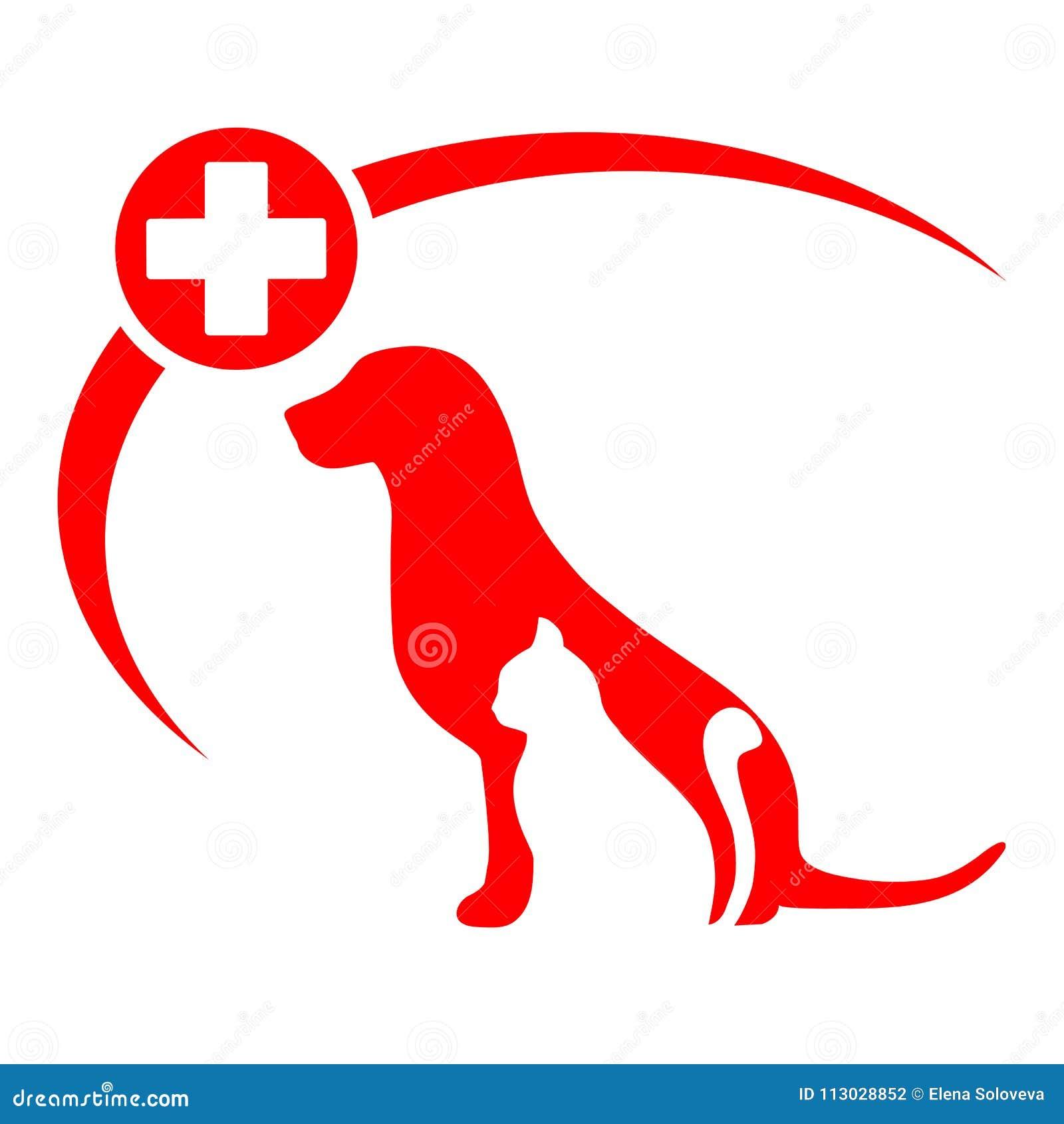 Logotipo de la clínica del animal doméstico con el perro, gato silueta del perro y del gato del cartel de la tienda de animales