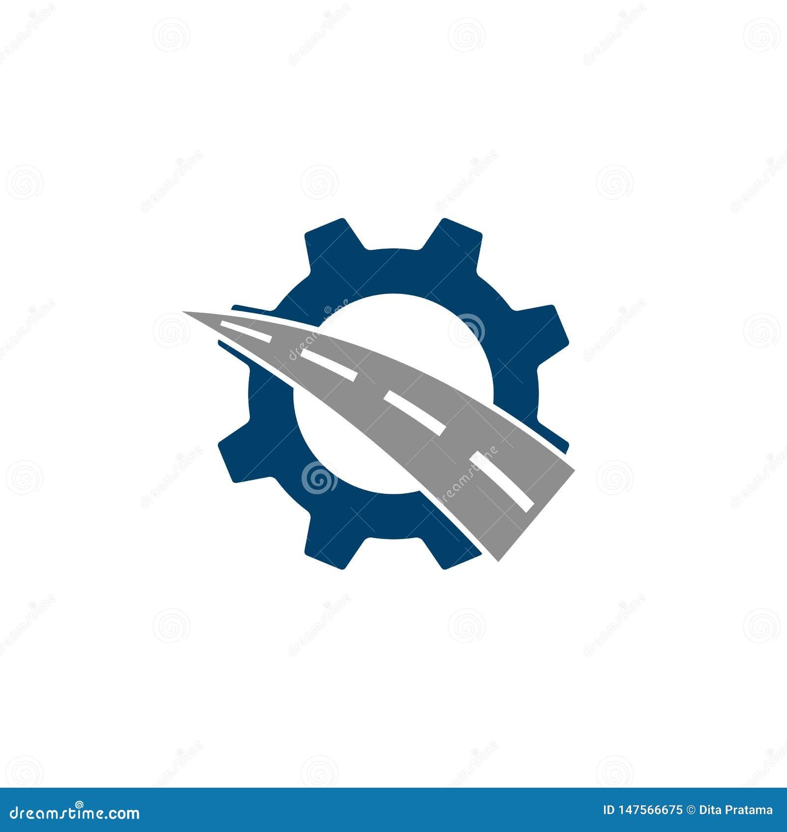 Logotipo de la combinación del engranaje y del camino