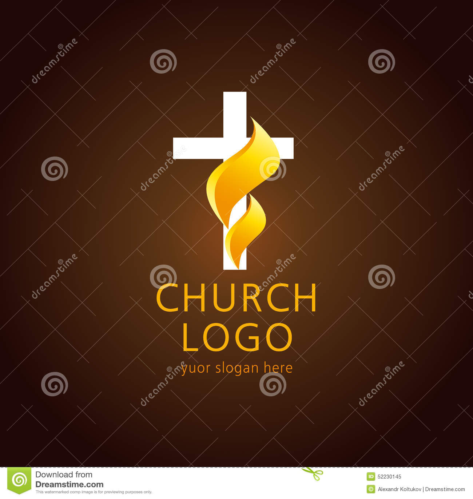 Logotipo de la cruz de la llama de la iglesia