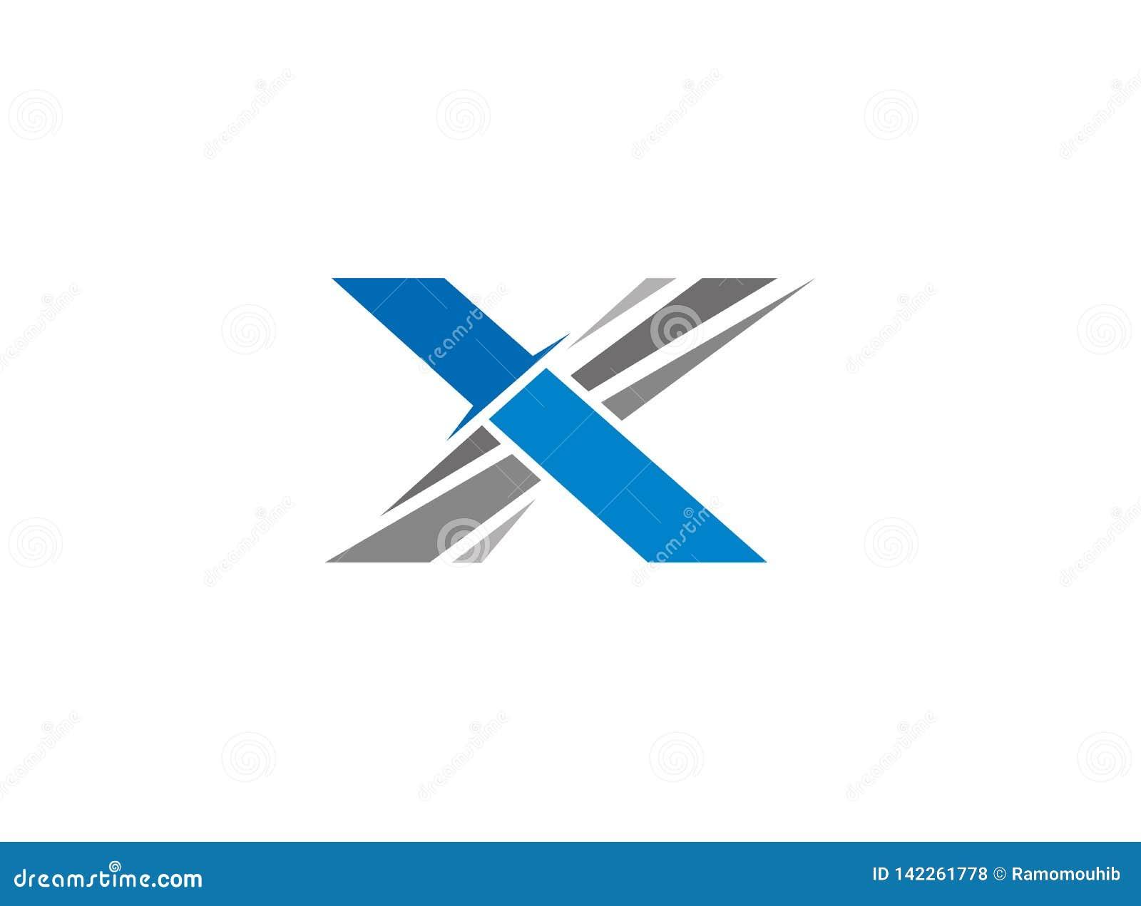 Logotipo de la espada del cuchillo del alfabeto X