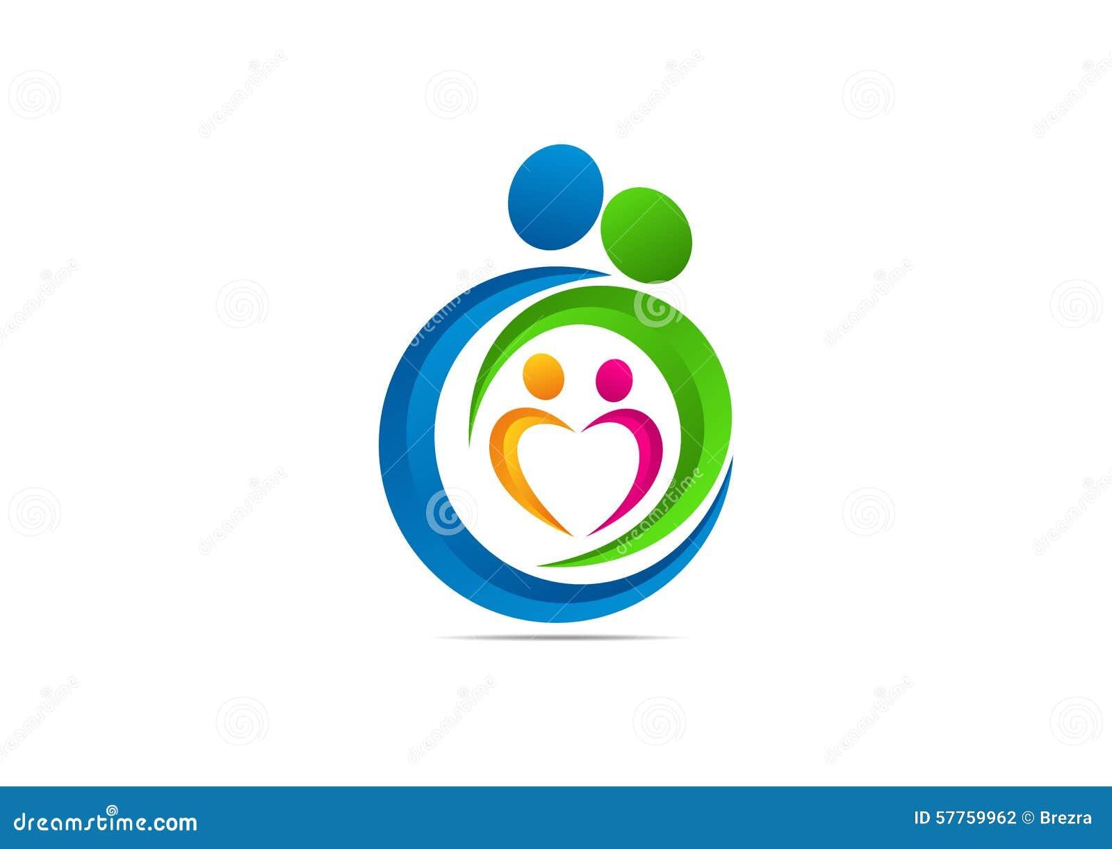 LOGOTIPO DE LA FAMILIA, DISEÑO DEL SÍMBOLO DEL PARENTING DEL CONCEPTO DEL AMOR