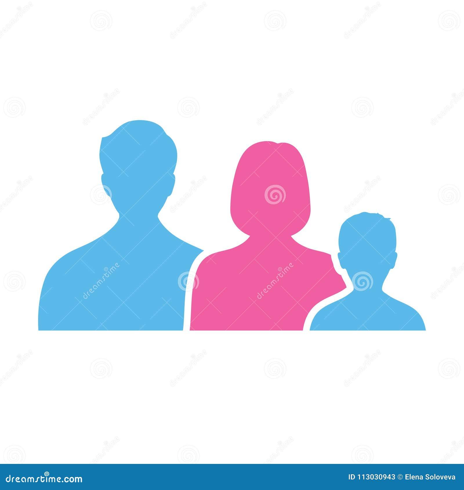 Logotipo de la familia que consiste en las figuras simples papá, mamá y niño