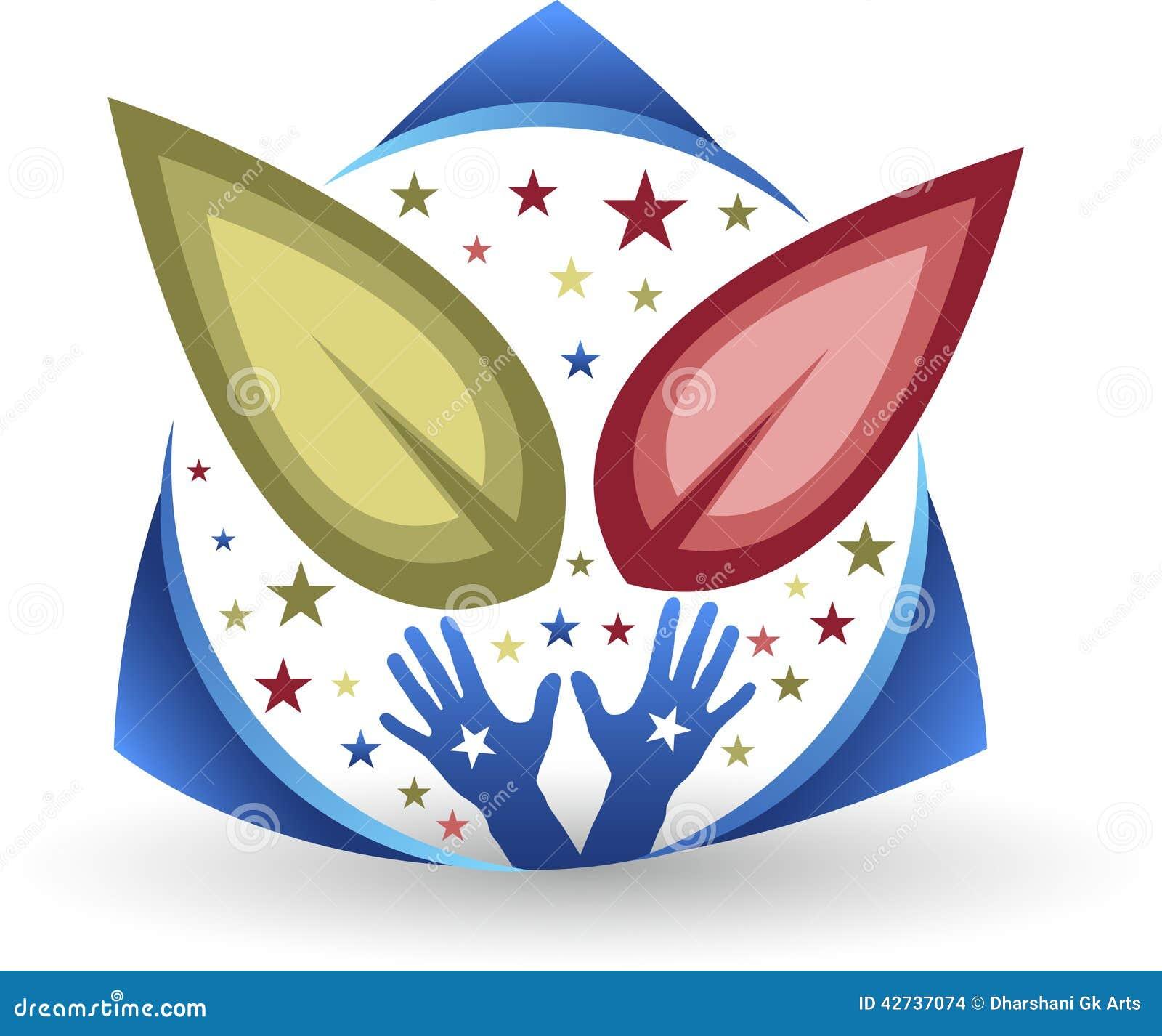 Logotipo de la hoja de la mano