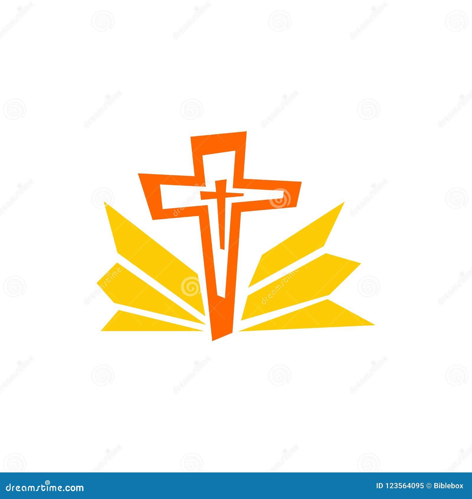 Logotipo de la iglesia Símbolos de Cristian La cruz de Jesús y de los rayos