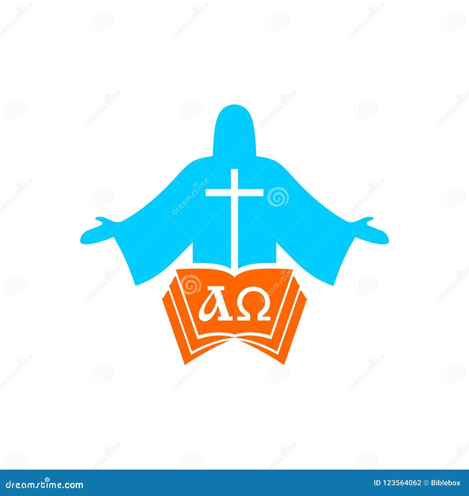 Logotipo de la iglesia Símbolos de Cristian Jesus Christ, la biblia y las letras alfa y Omega