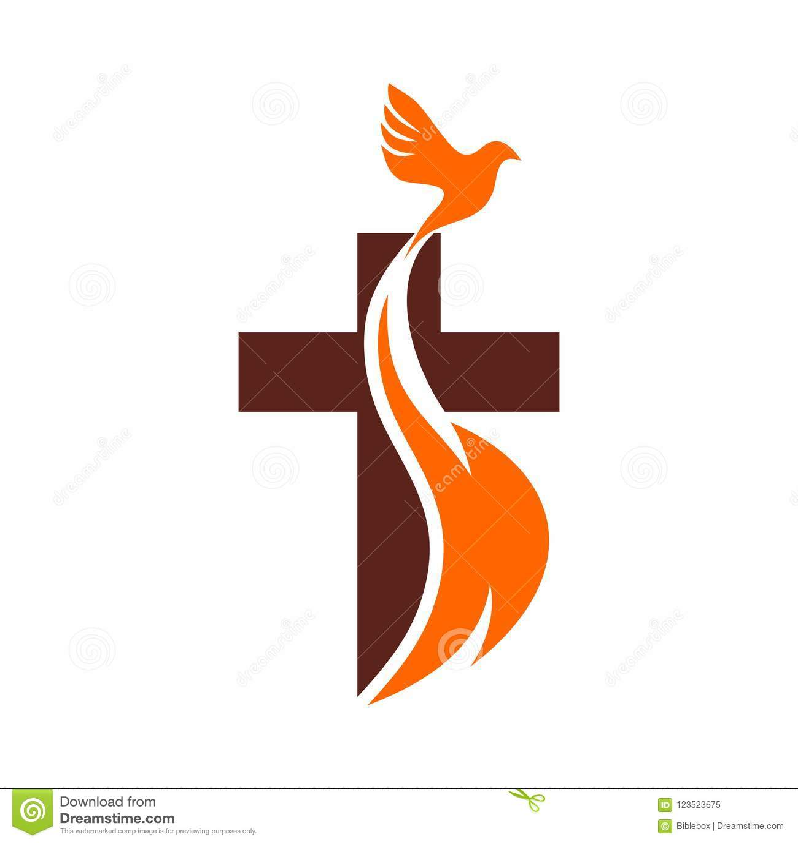 Logotipo de la iglesia Símbolos cristianos La cruz de Jesús, del fuego del Espíritu Santo y de la paloma