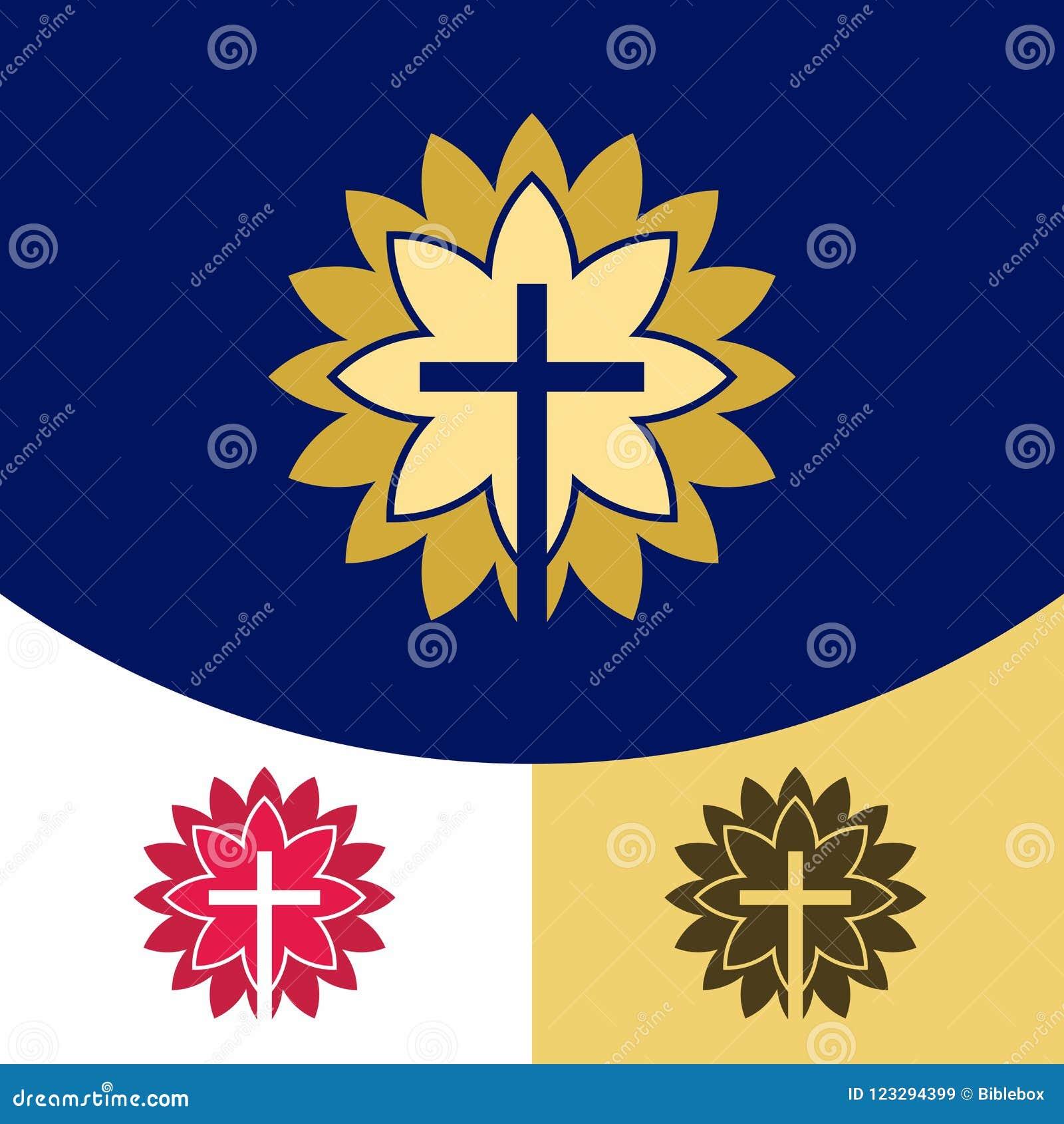 Logotipo de la iglesia Símbolos cristianos La cruz de Jesus Christ en la resplandor de la gloria del ` s de dios
