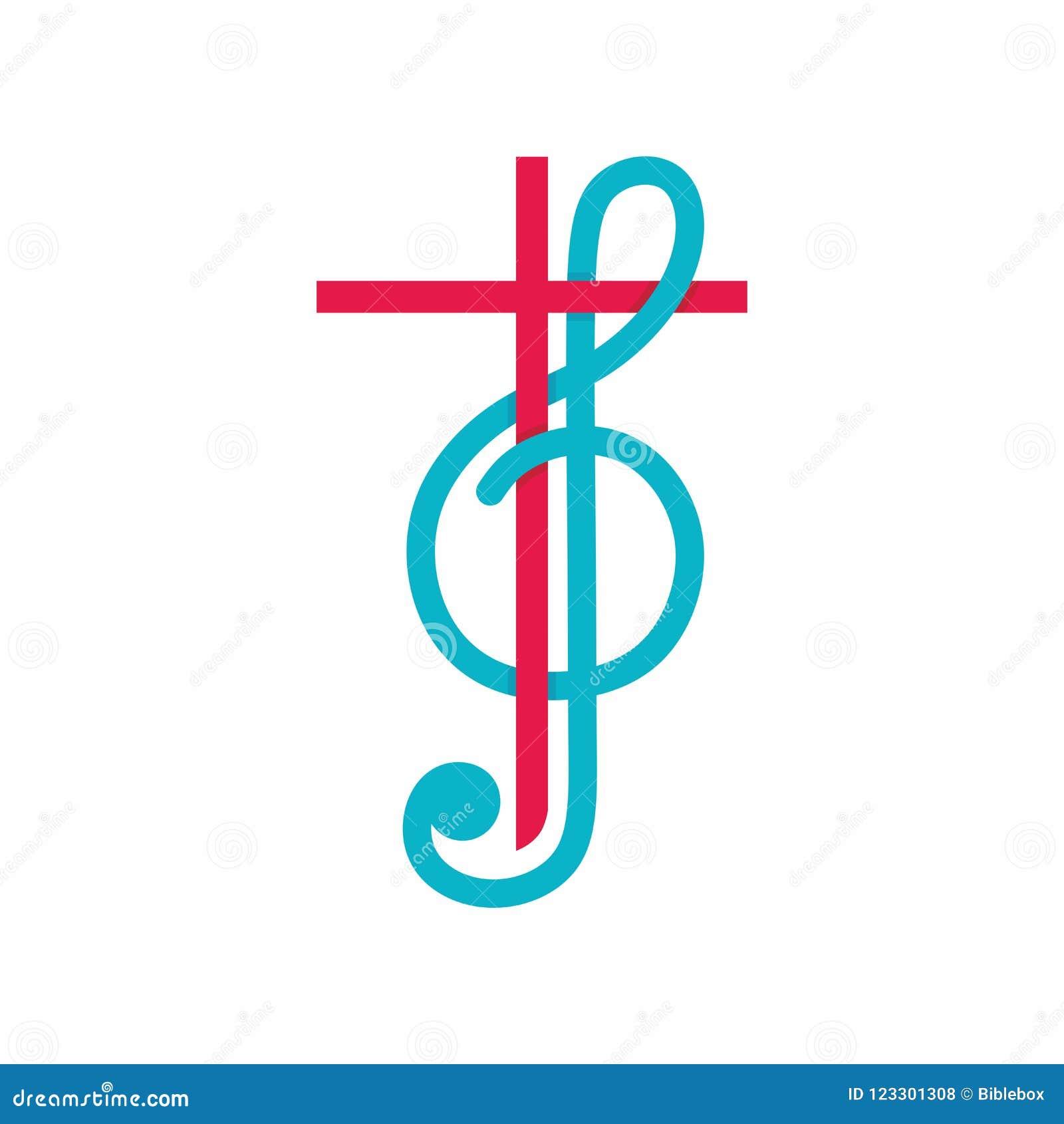 Logotipo de la iglesia Símbolos cristianos La cruz de Jesus Christ y de la clave de sol como símbolo de la alabanza y de la adora