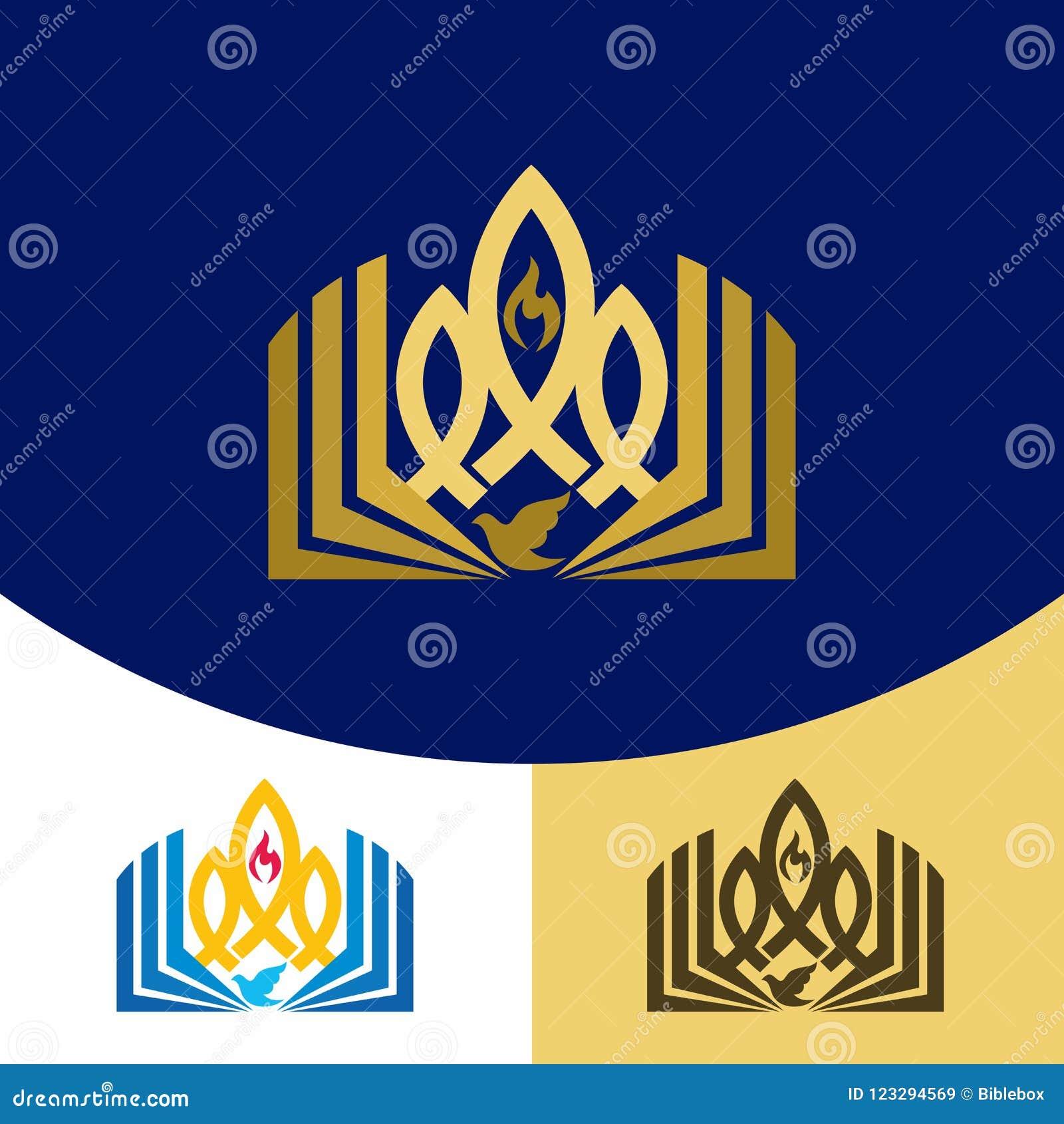 Logotipo de la iglesia Símbolos cristianos El evangelio, la biblia, la llama del Espíritu Santo, una paloma y un símbolo de Jesus