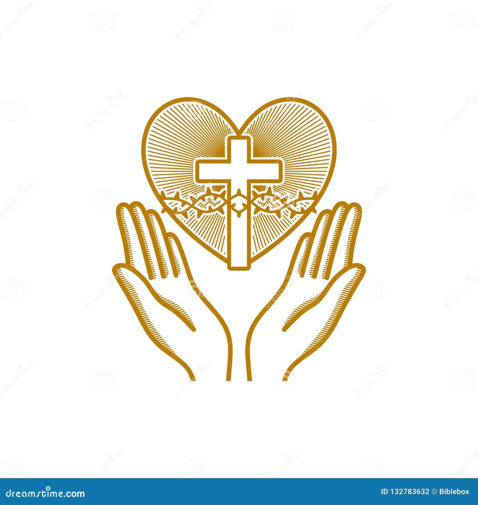 Logotipo de la iglesia Símbolos cristianos Las manos de rogación se dirigen al corazón con la corona de espinas de Jesus Christ