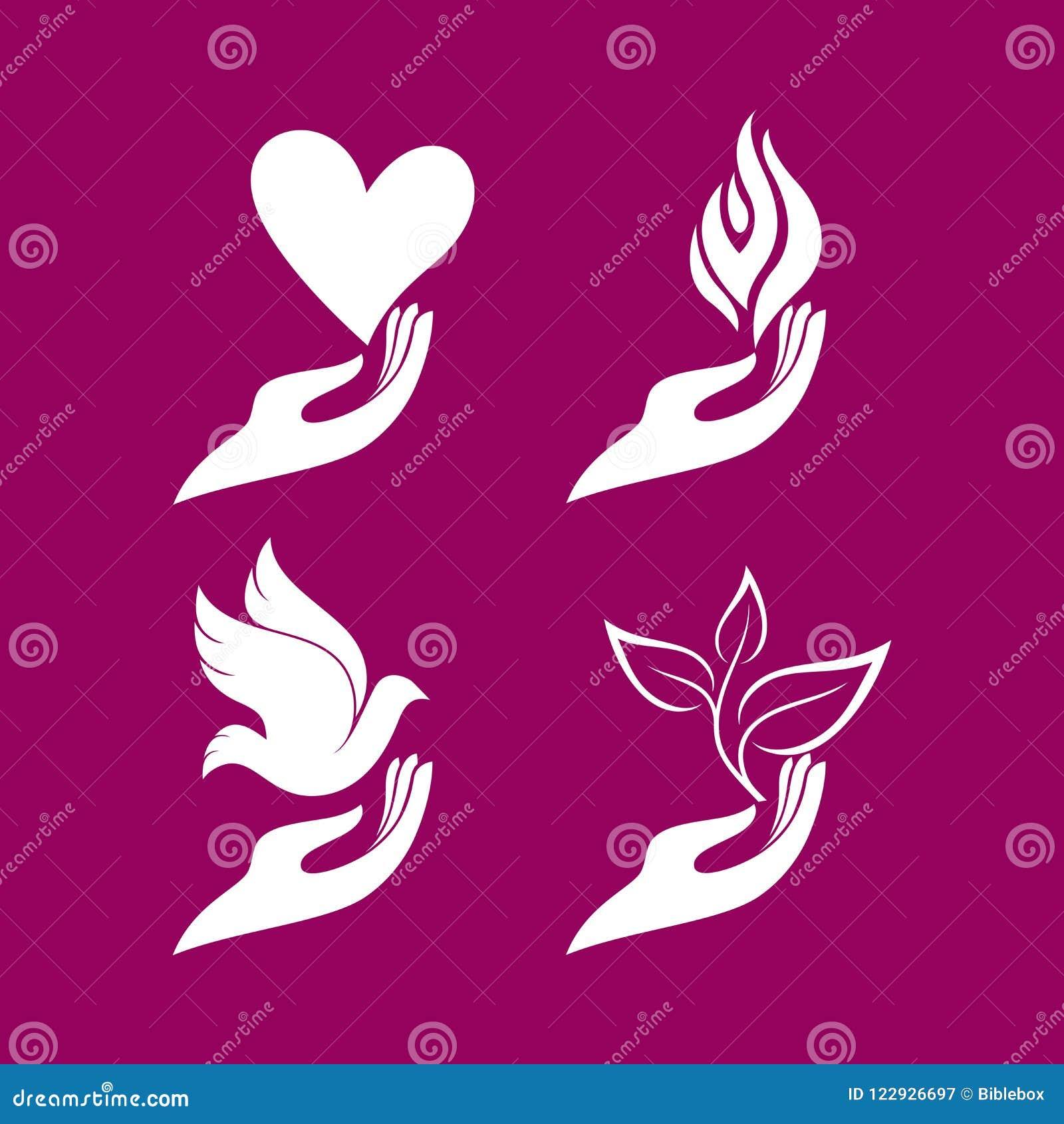Logotipo de la iglesia Sistema - manos con un corazón y una paloma, una llama y un brote