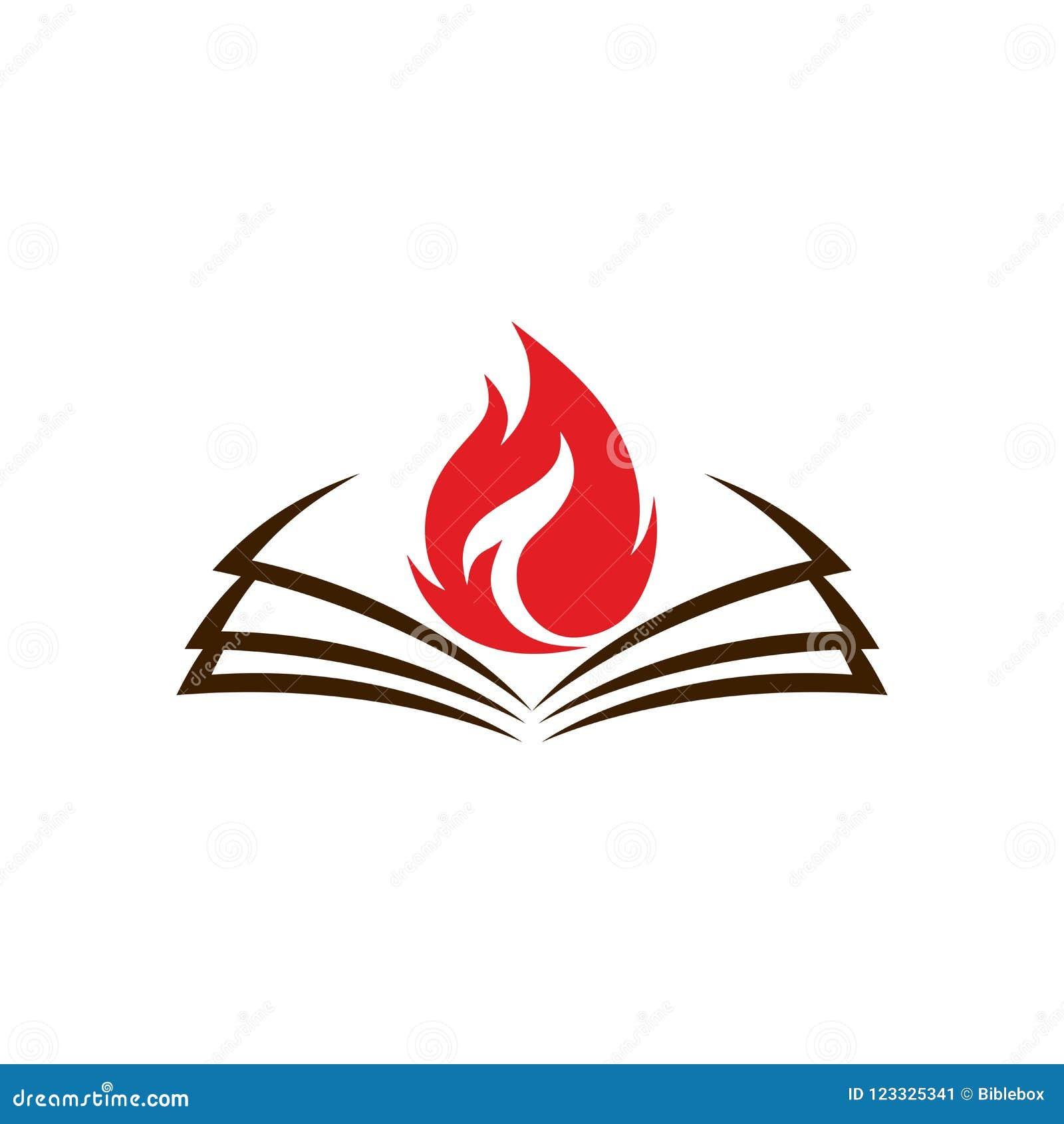 Logotipo De La Iglesia Una Biblia Abierta Y Una Llama Son Un Símbolo