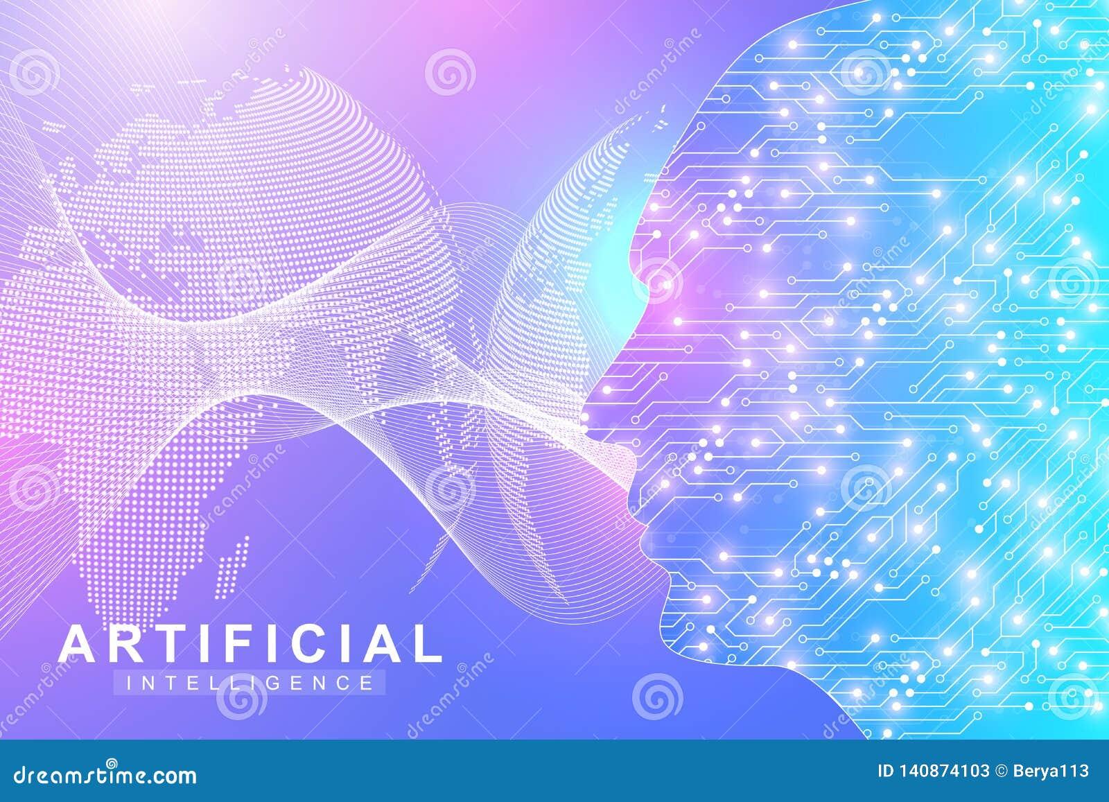 Logotipo de la inteligencia artificial Concepto de la inteligencia artificial y del aprendizaje de máquina Símbolo AI del vector