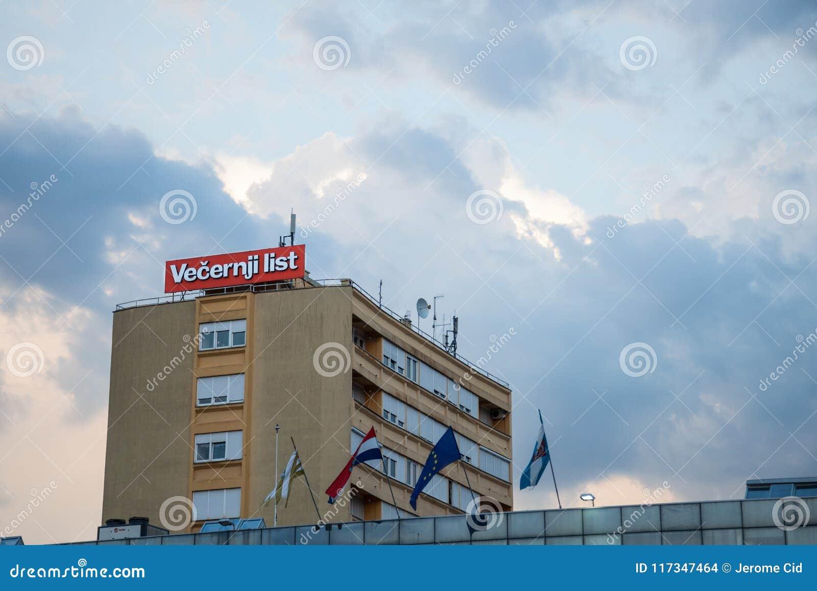 Logotipo de la lista de Vecernji en su oficina local en Vukovar Los liss de Vecernji son el periódico conservador principal en Cr