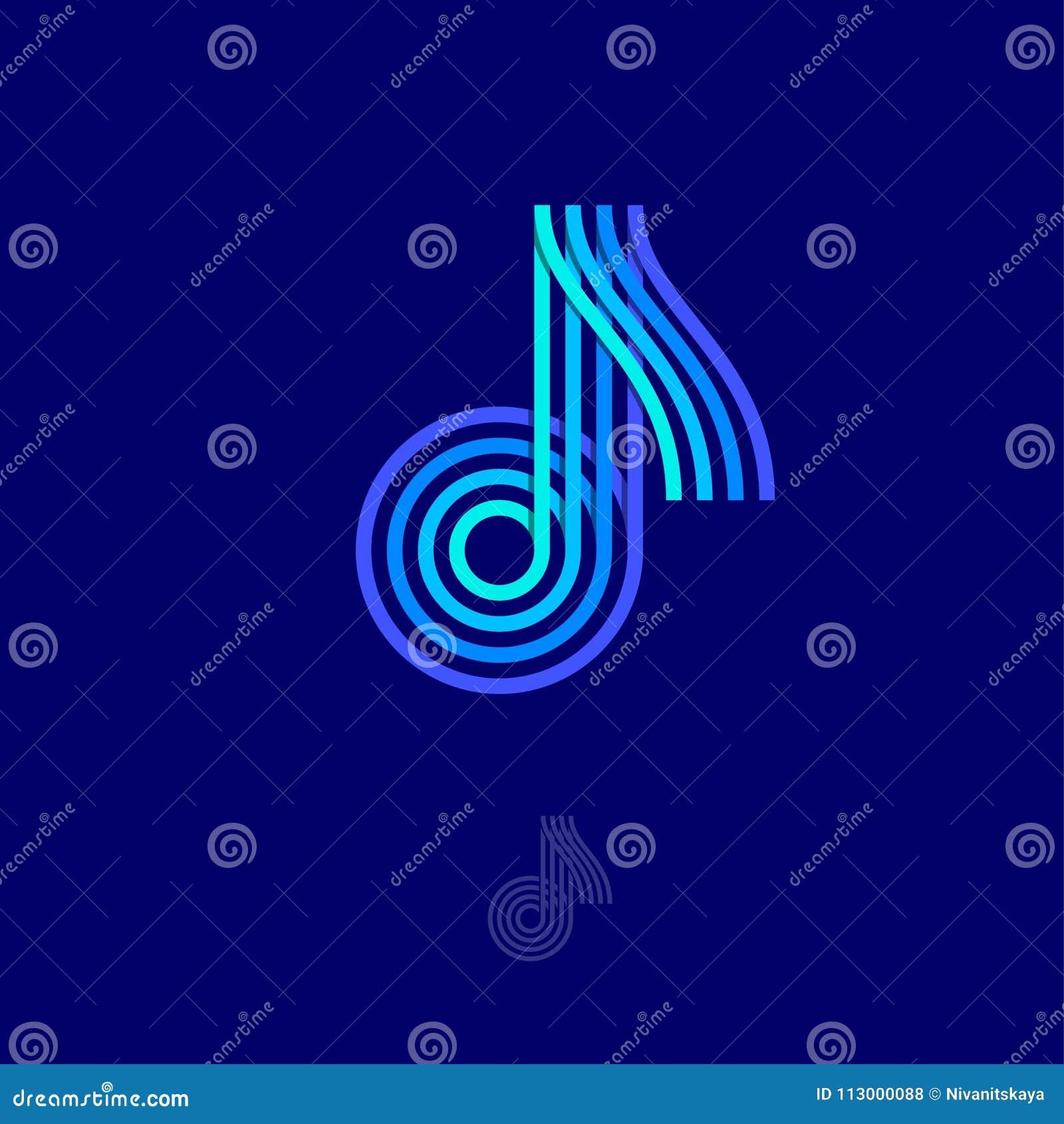 Logotipo de la música Observe el emblema Logotipo multicolor como nota sobre un fondo oscuro