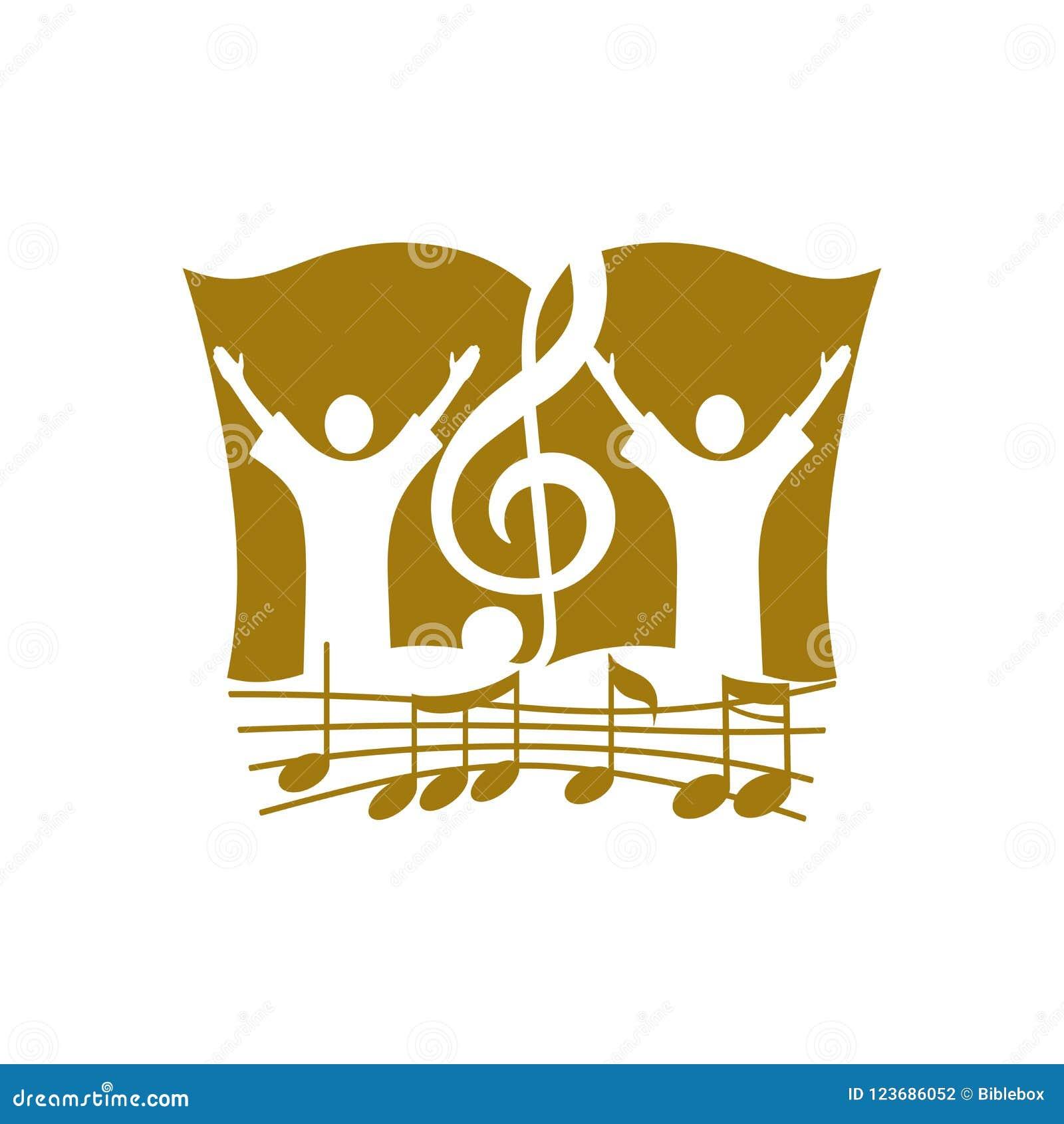 Logotipo de la música Símbolos cristianos Dios que adora, gente y la clave de sol en el fondo de la biblia