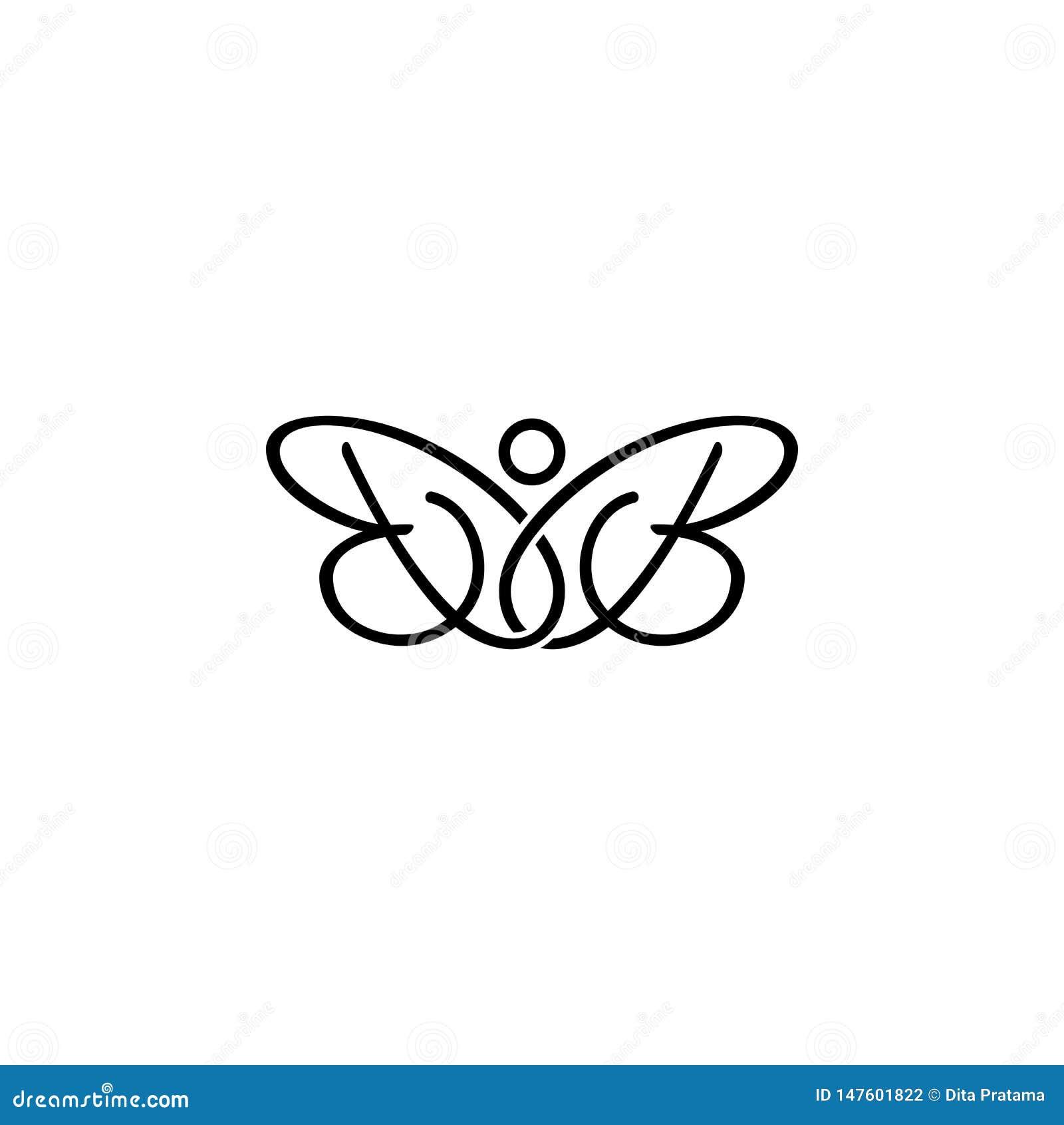 Logotipo de la mariposa de la inicial de la letra del BB