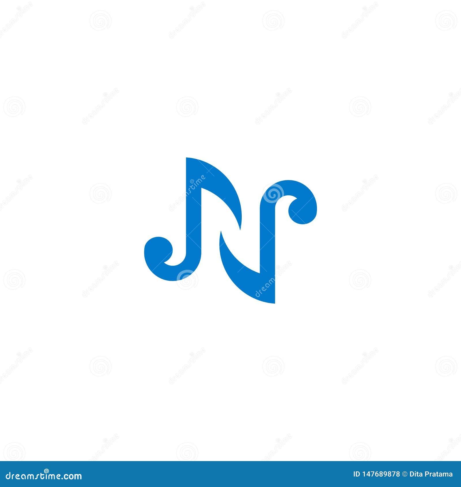 Logotipo de la melodía de la inicial de la letra de N