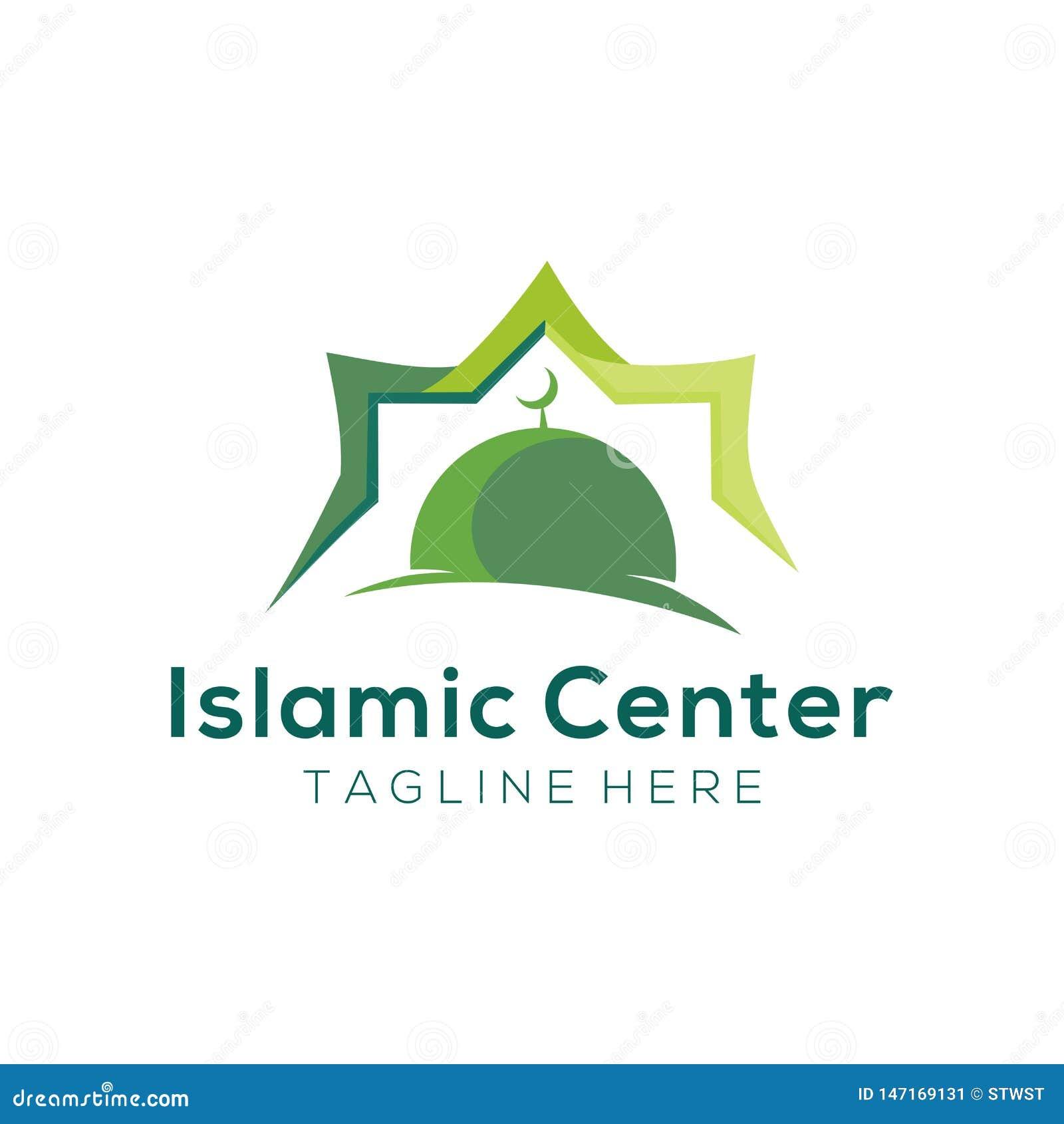 Logotipo de la mezquita moderna y diseño de centro islámicos del icono