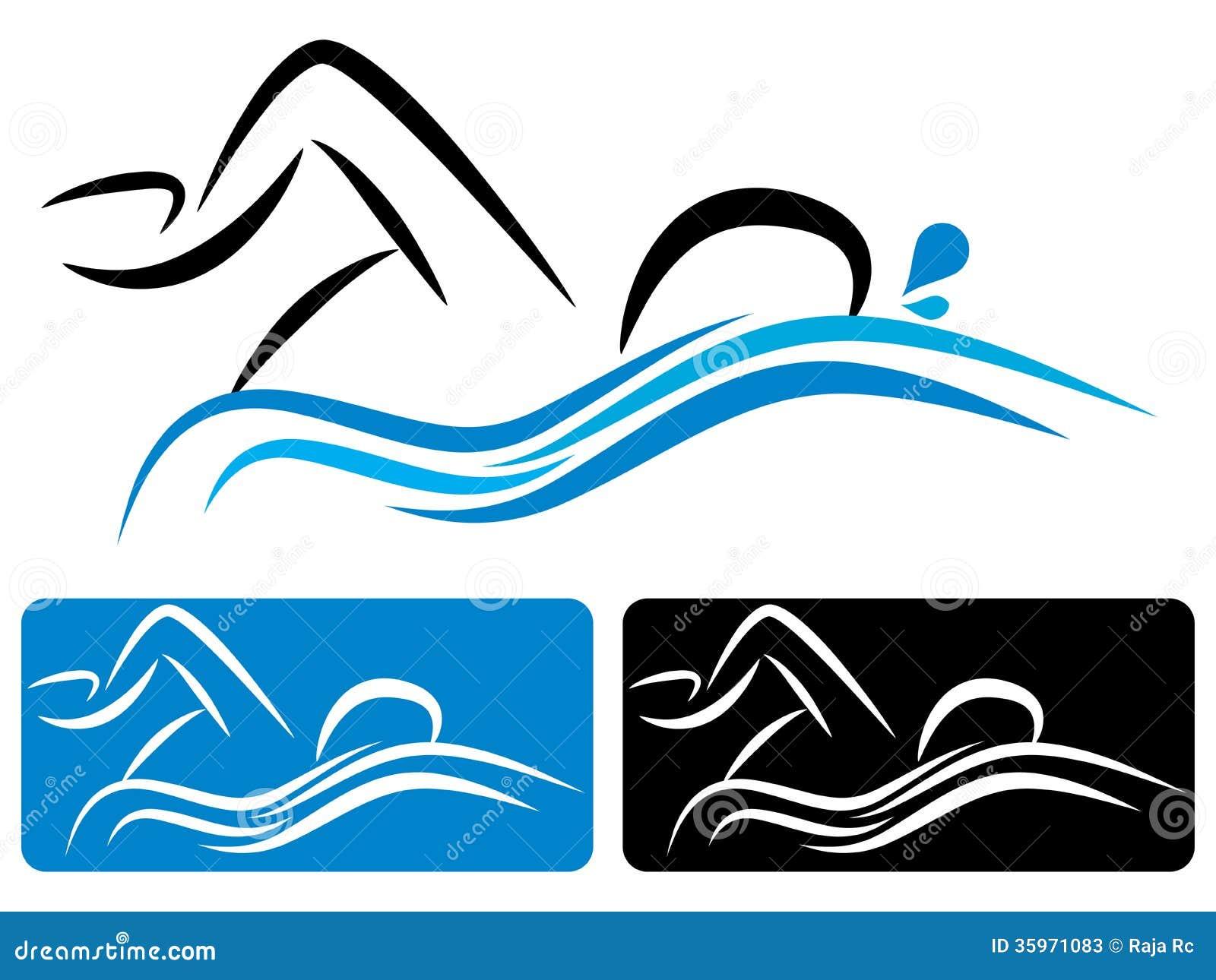 Ejemplo del vector del logotipo de la natación.