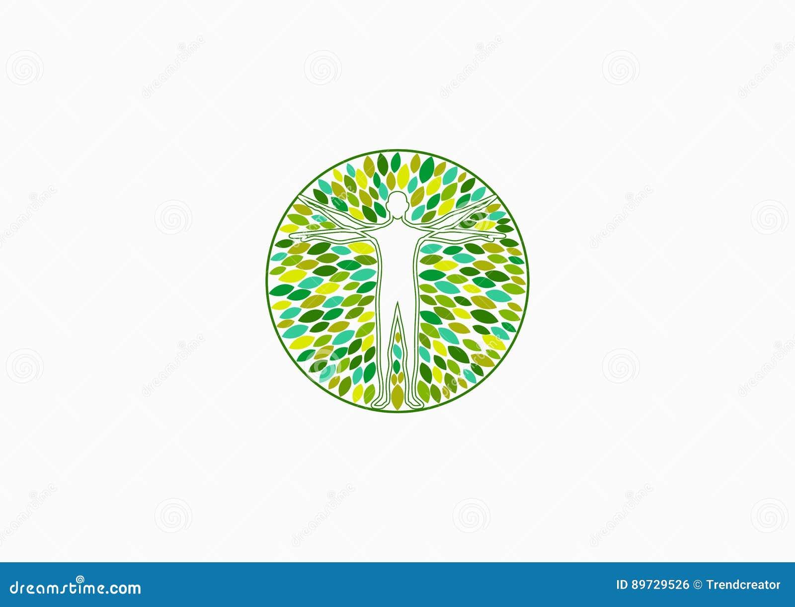 Logotipo de la salud del cuerpo, salud física natural y diseño de concepto de la terapia de la gente