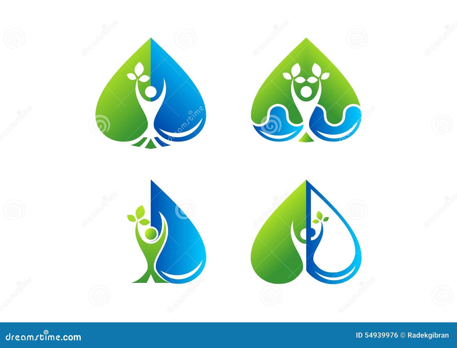 Logotipo de la salud del cuidado del corazón, belleza, balneario, salud, planta, descenso del agua, amor, diseño sano del icono d