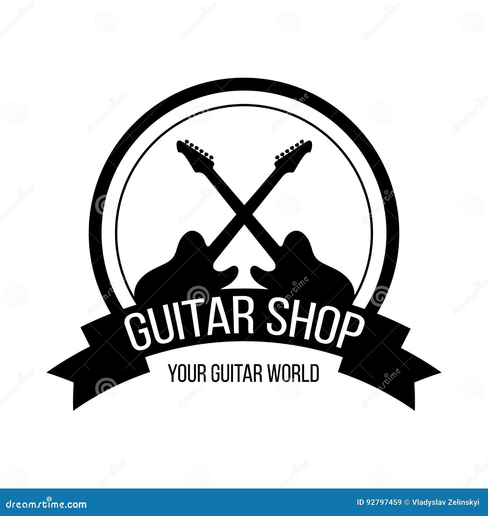 Logotipo de la tienda de la guitarra con las guitarras de la travesía