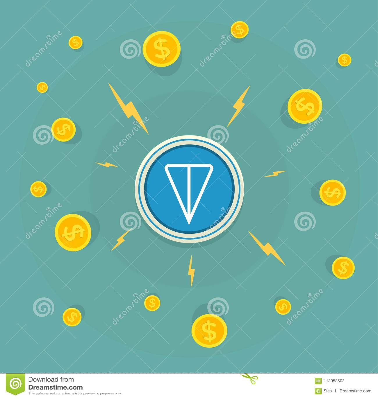 Logotipo de la TONELADA Cryptocurrency de la red abierta del telegrama Ilustración del vector