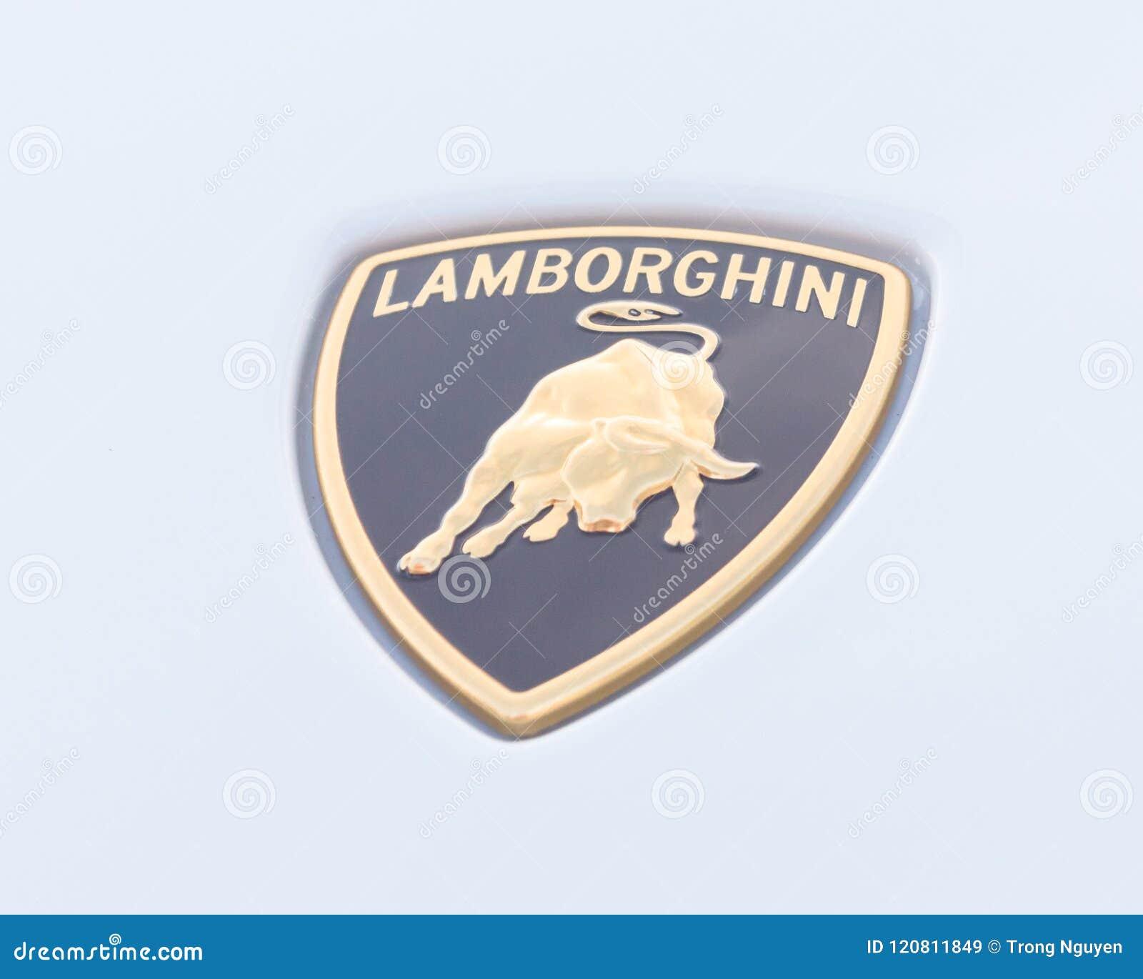Logotipo De Lamborghini Del Primer En Aventador Blanco Imagen De