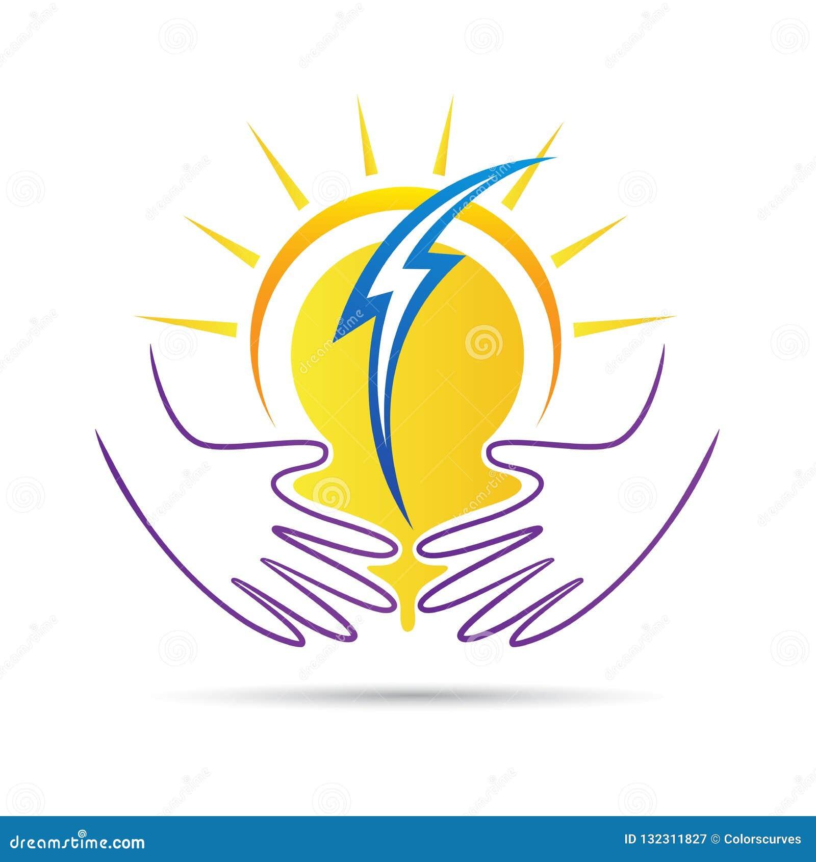 Logotipo de las manos del cuidado del poder de la naturaleza