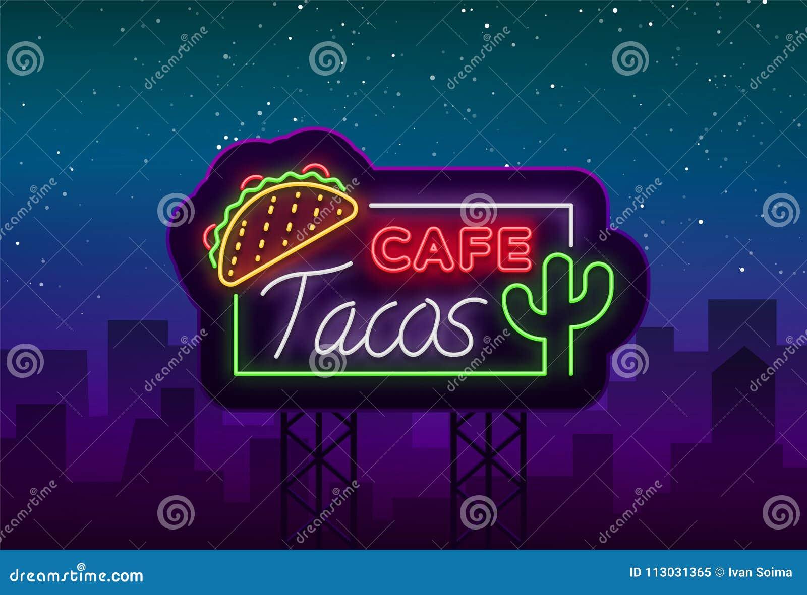 Logotipo de los tacos en el estilo de neón Señal de neón, símbolo, cartelera brillante, publicidad nocturna del taco mexicano de