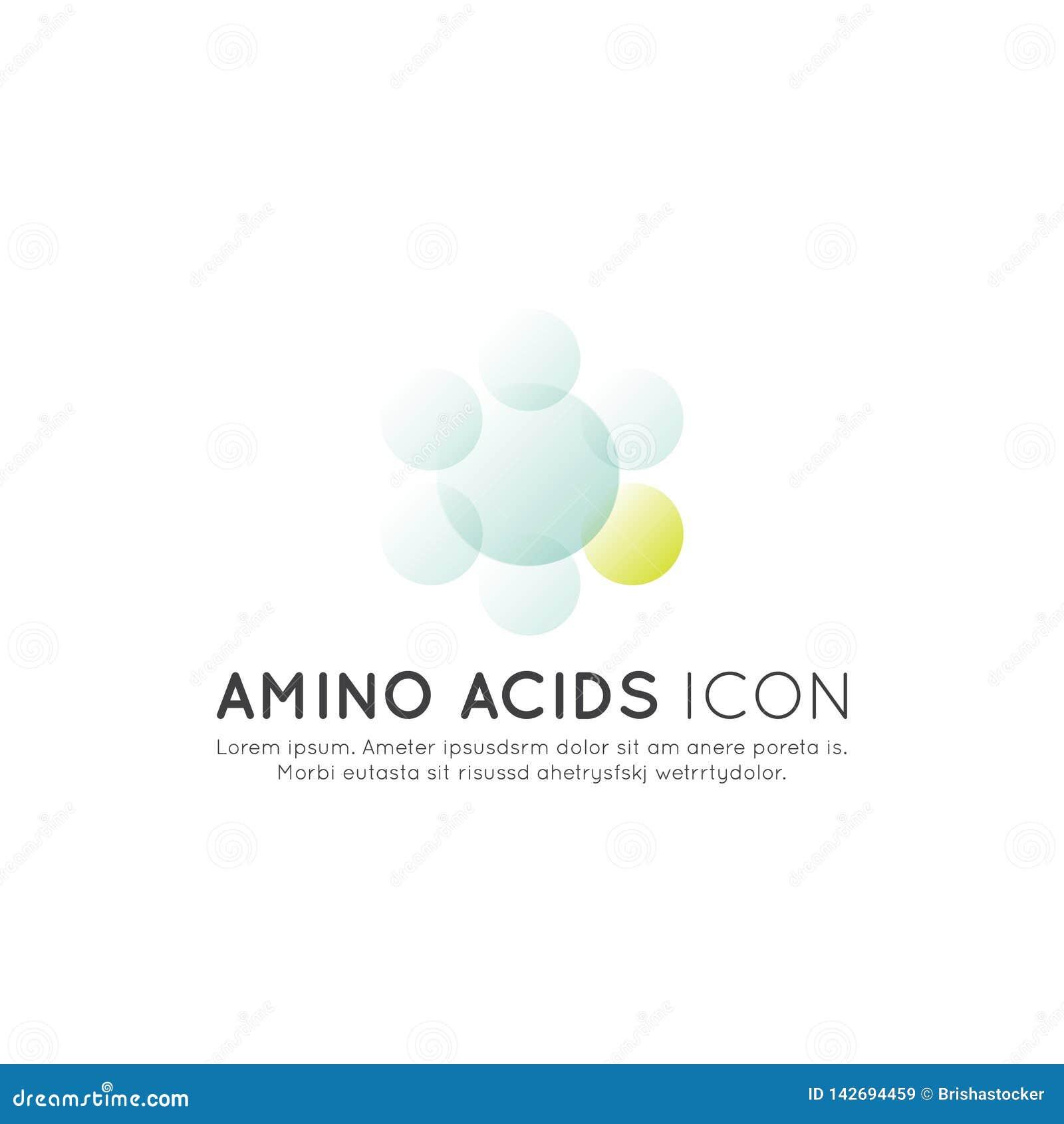 Logotipo de suplementos, ingredientes e vitaminas e elementos ao alimento para bio etiquetas do pacote - ácidos aminados