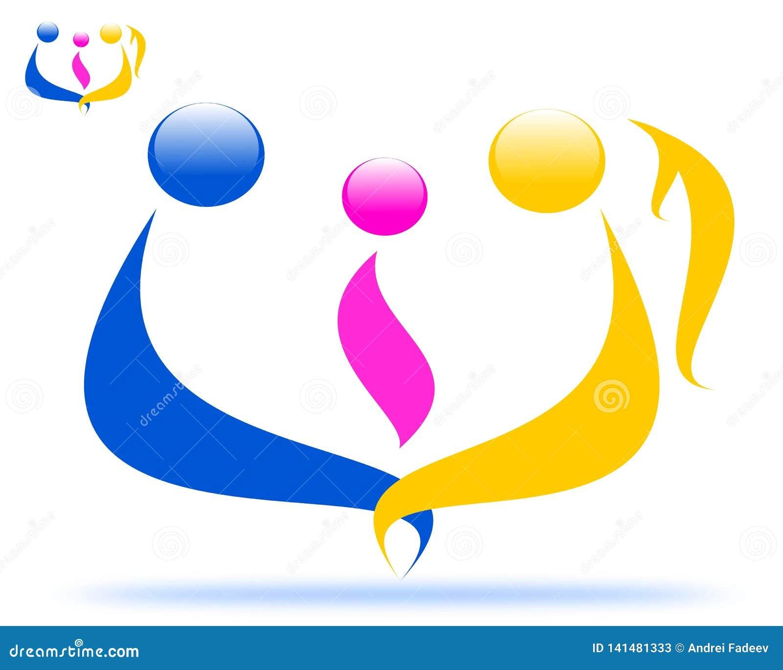 Logotipo de tiragem da família, unidade da família