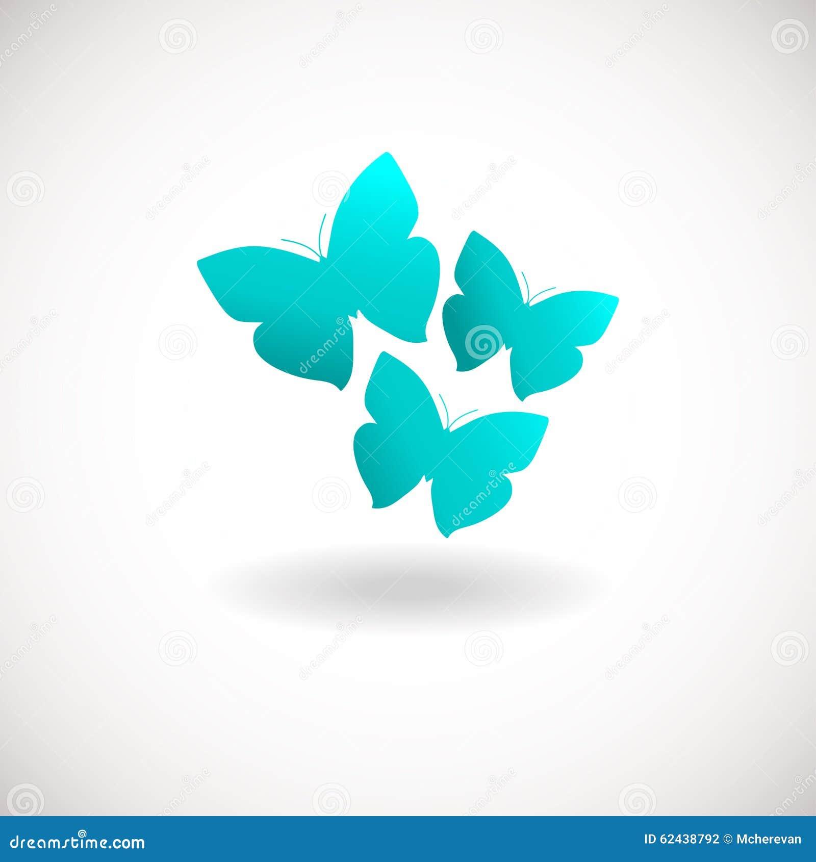 Logotipo De Tres Mariposas El Azul Colorea El Logotipo Stock