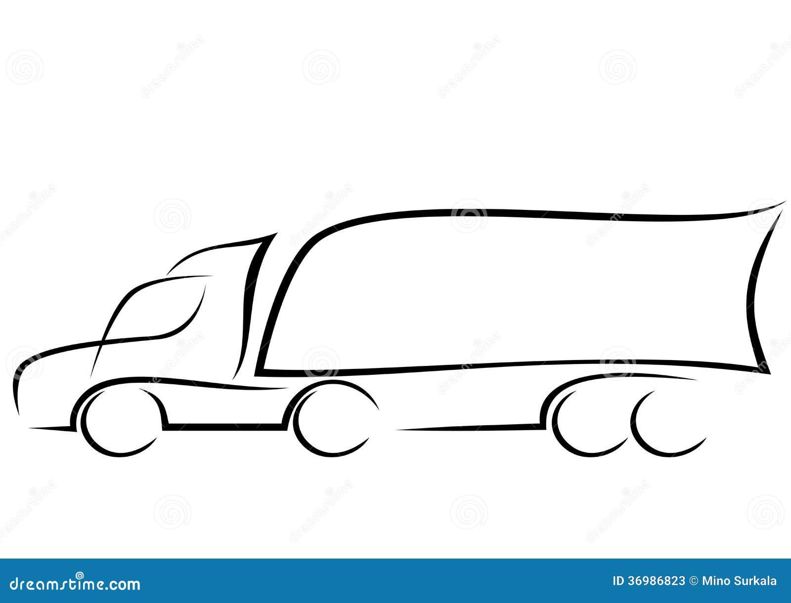 logotipo de un cami u00f3n aerodin u00e1mico ilustraci u00f3n del vector