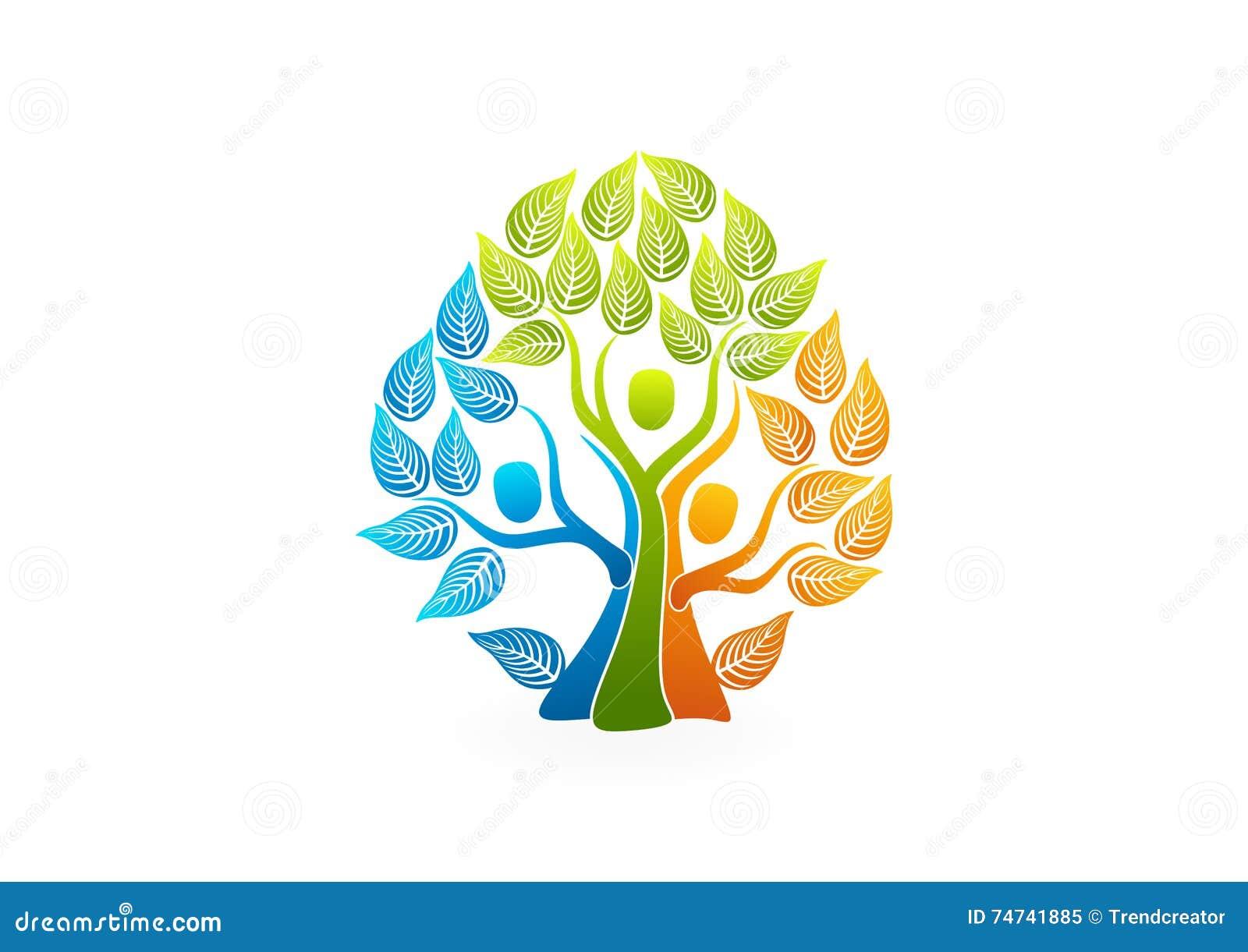 Logotipo del árbol de familia, diseño de concepto sano de la gente