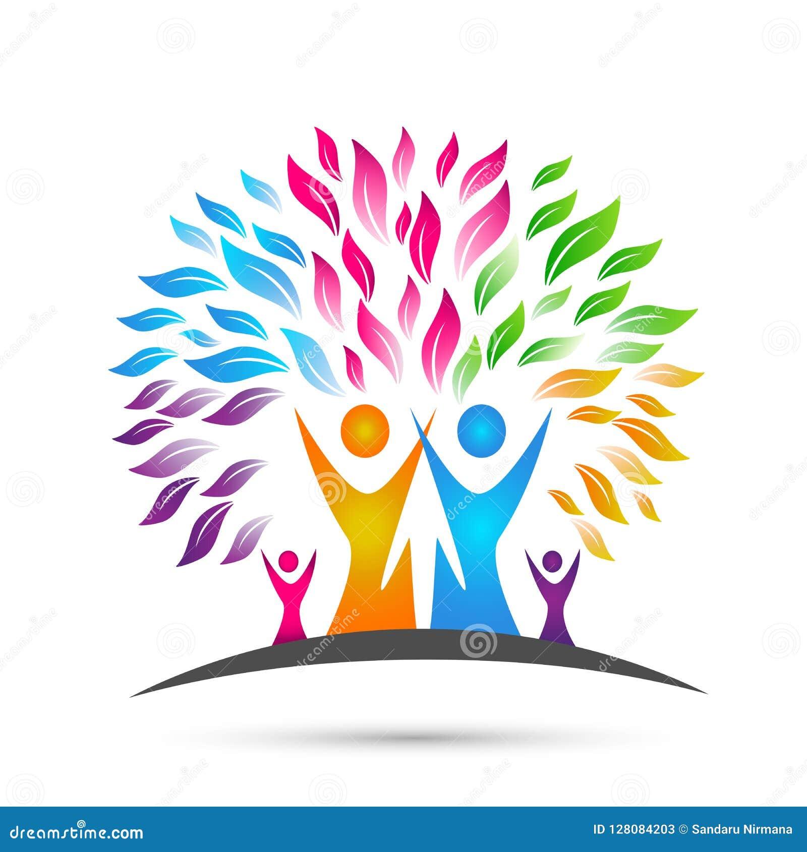 Logotipo del árbol de familia, familia, padre, niños, amor verde, parenting, cuidado, vector del diseño del icono del símbolo en