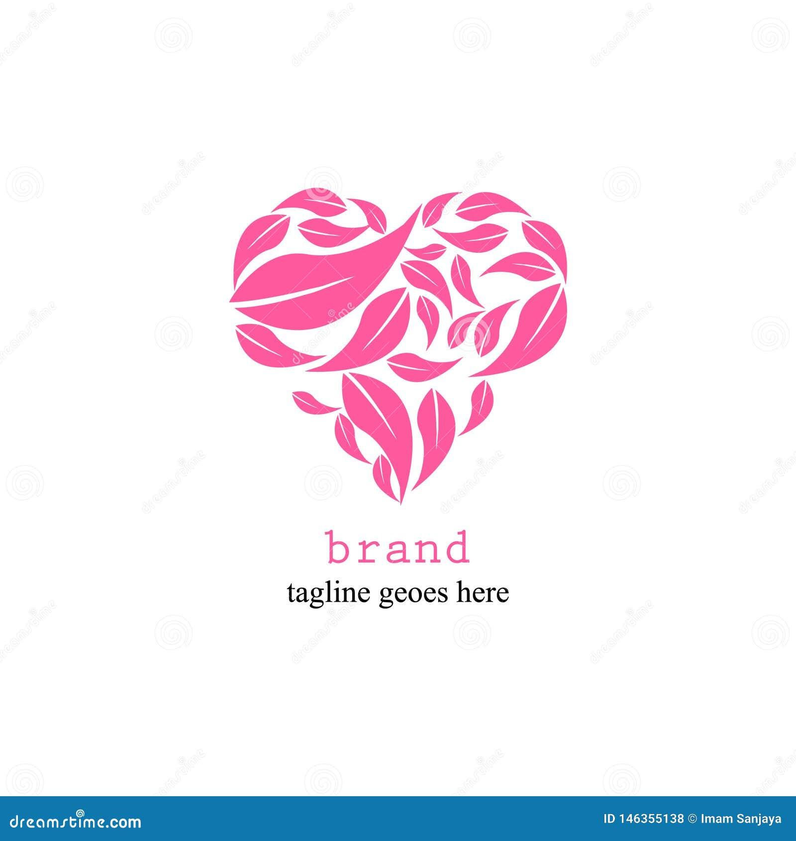 Logotipo del amor con las hojas en un simple y atractivo