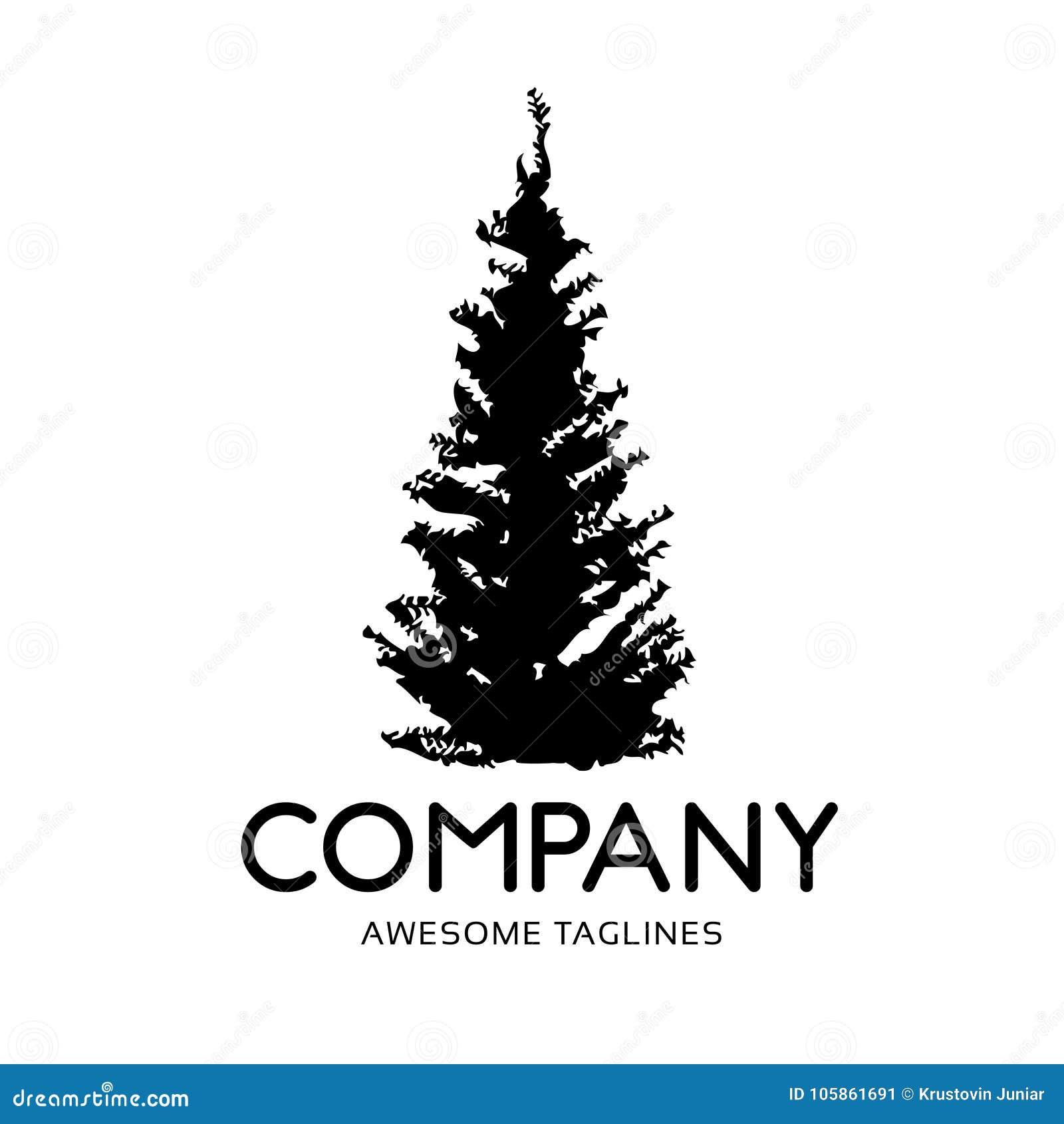 Logotipo del bosque de la silueta del verde del árbol de pino