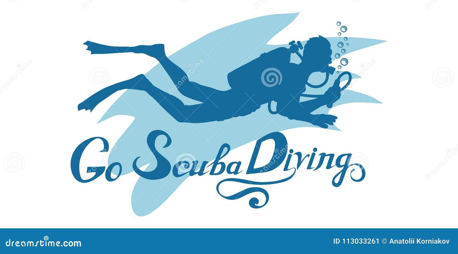 Logotipo del buceo con escafandra Buceador con el equipo de submarinismo