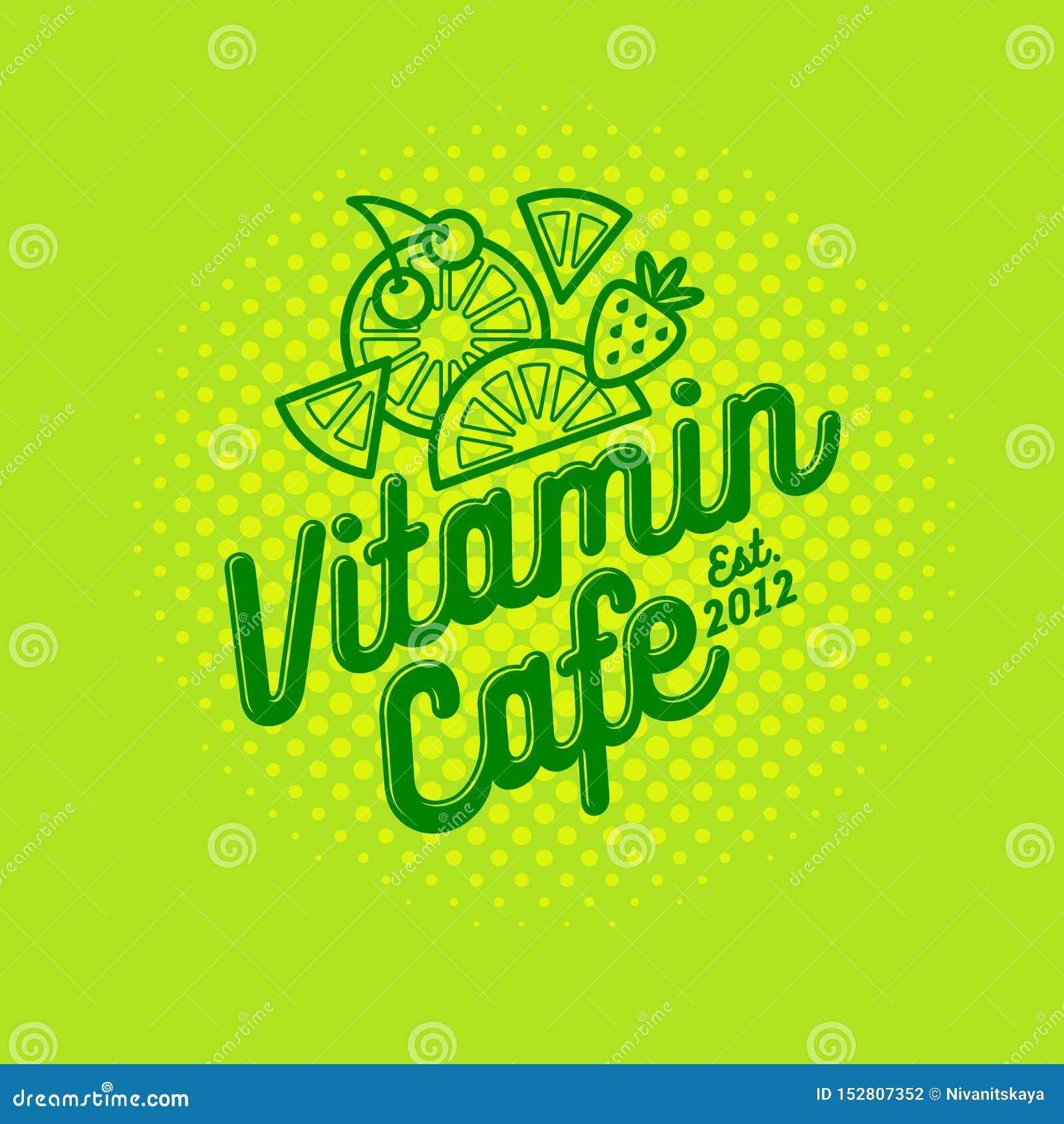 Logotipo del café de la vitamina Smoothie, detox y café sabroso del jugo Bebidas sanas Fruta y bayas con las letras