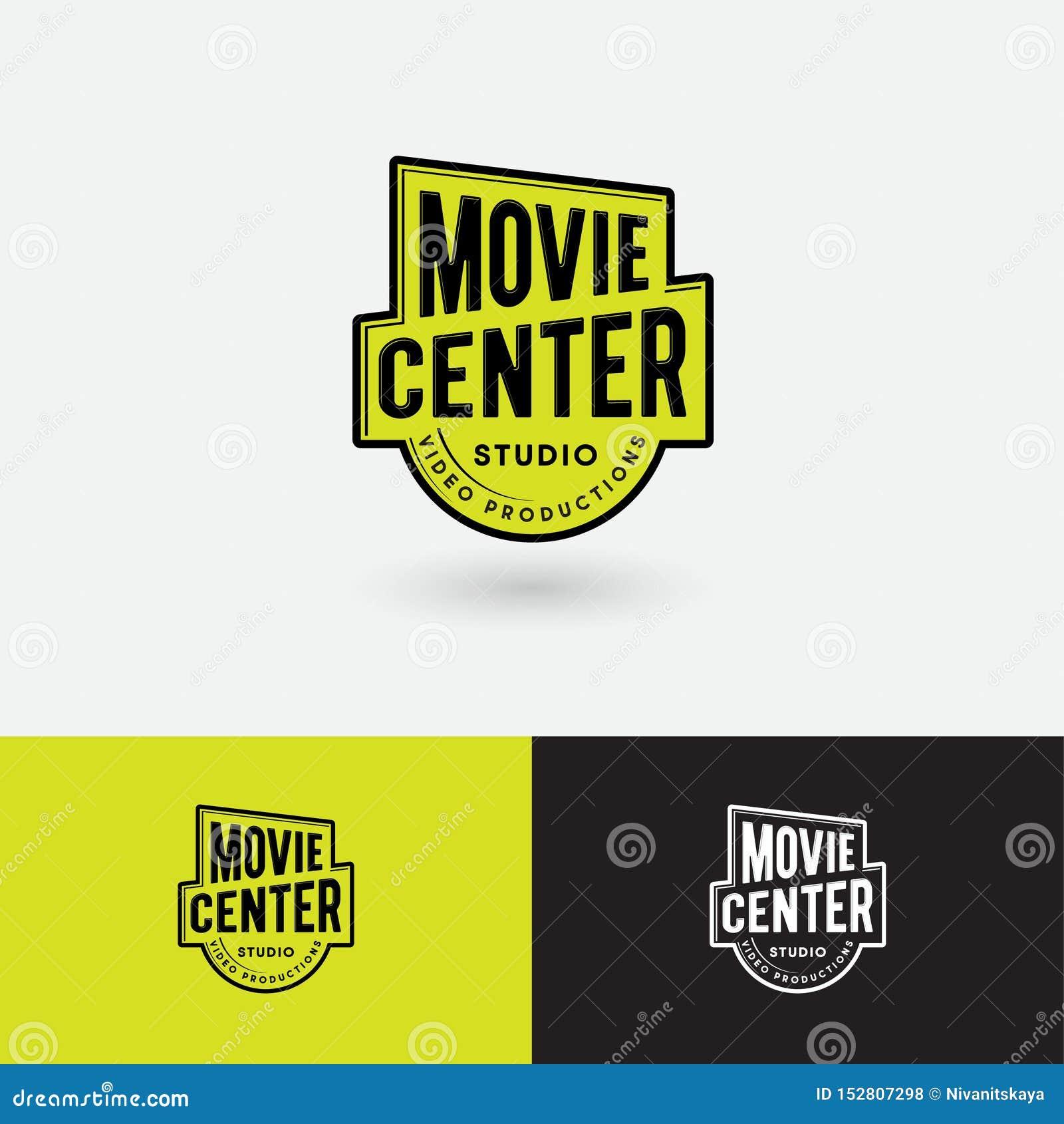 Logotipo del centro de la película Emblema video del estudio de la producción Símbolo del premio del oro con las letras